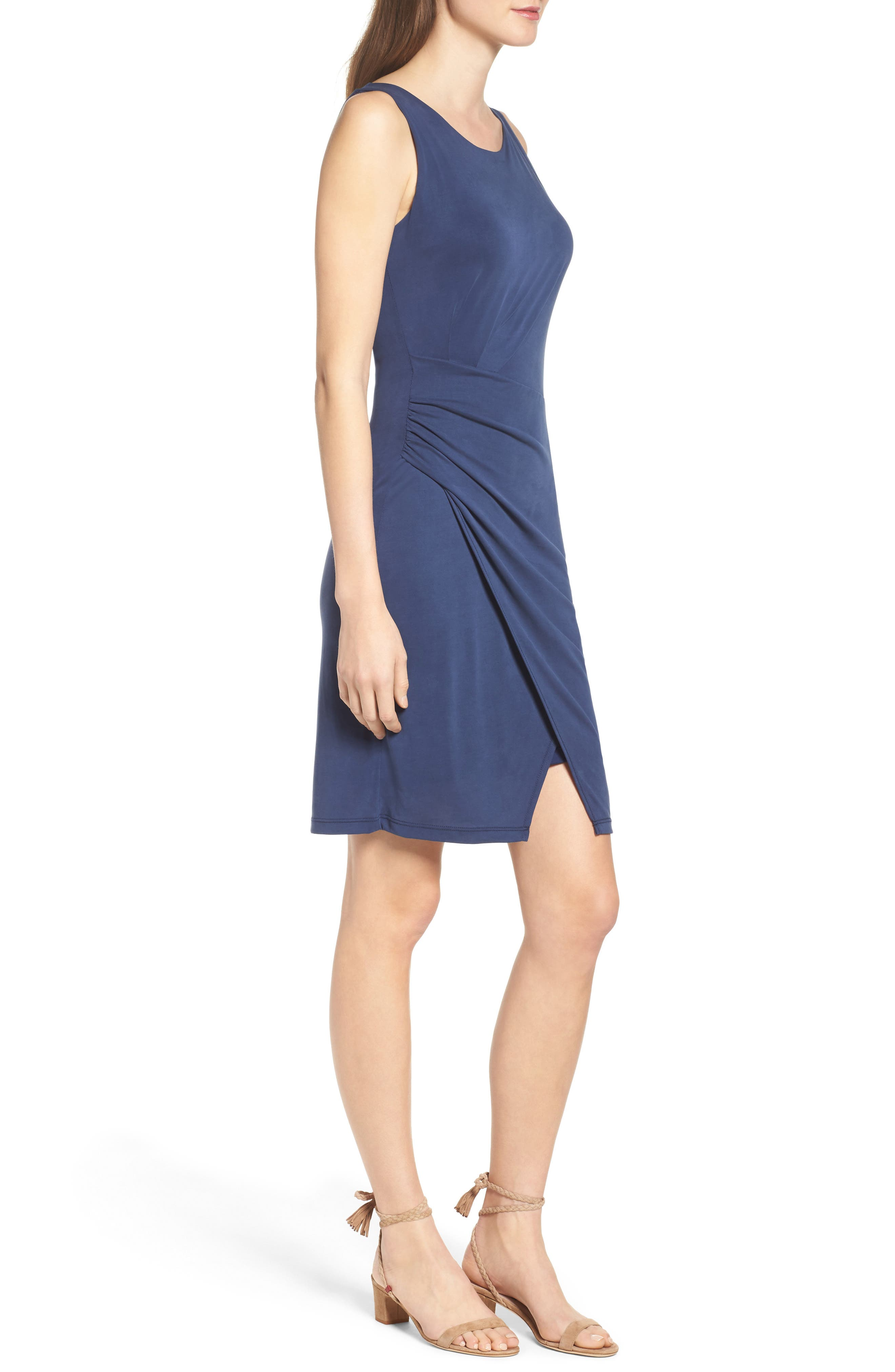 Pleated Body-Con Dress,                             Alternate thumbnail 3, color,                             Navy