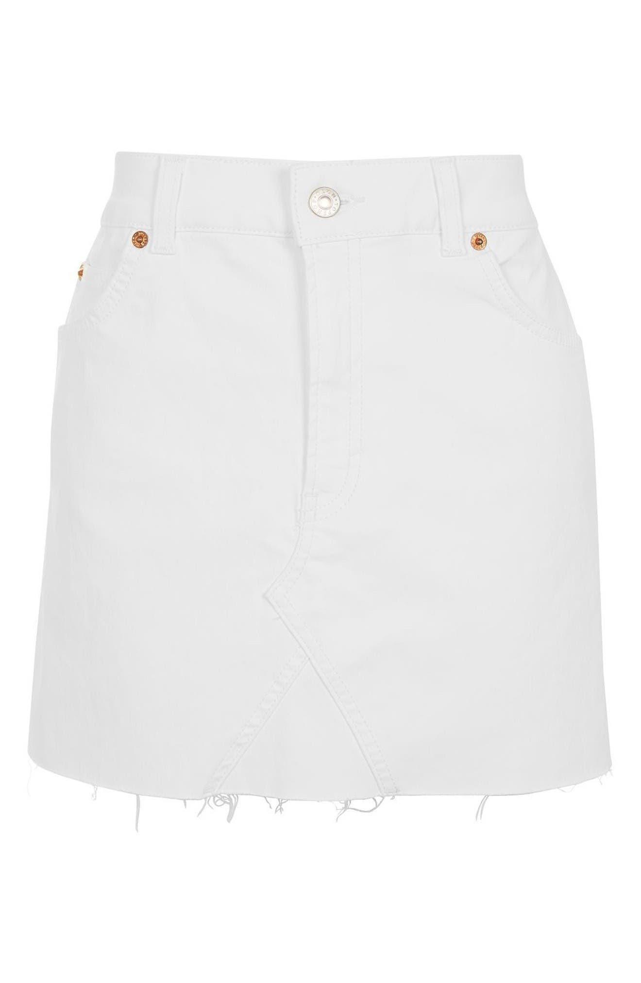Alternate Image 4  - Topshop Coated Denim Miniskirt