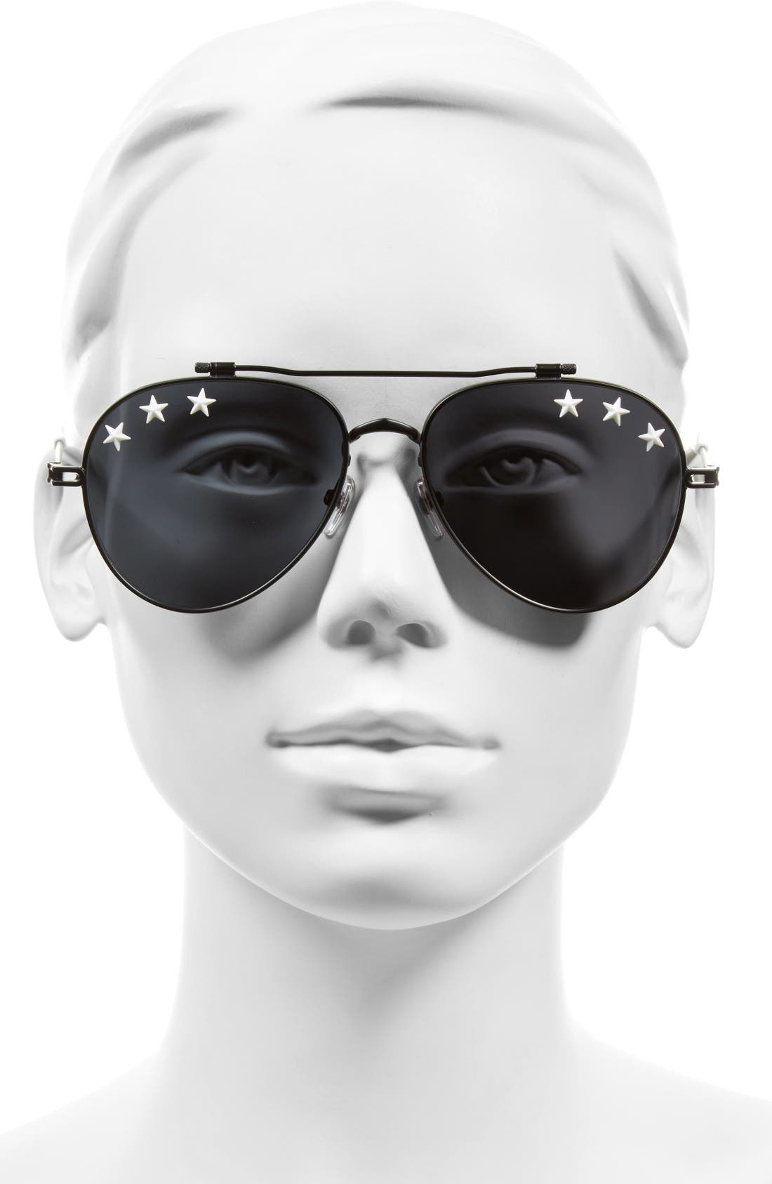 Star Detail 58mm Mirrored Aviator Sunglasses,                             Alternate thumbnail 2, color,                             Black/ Black
