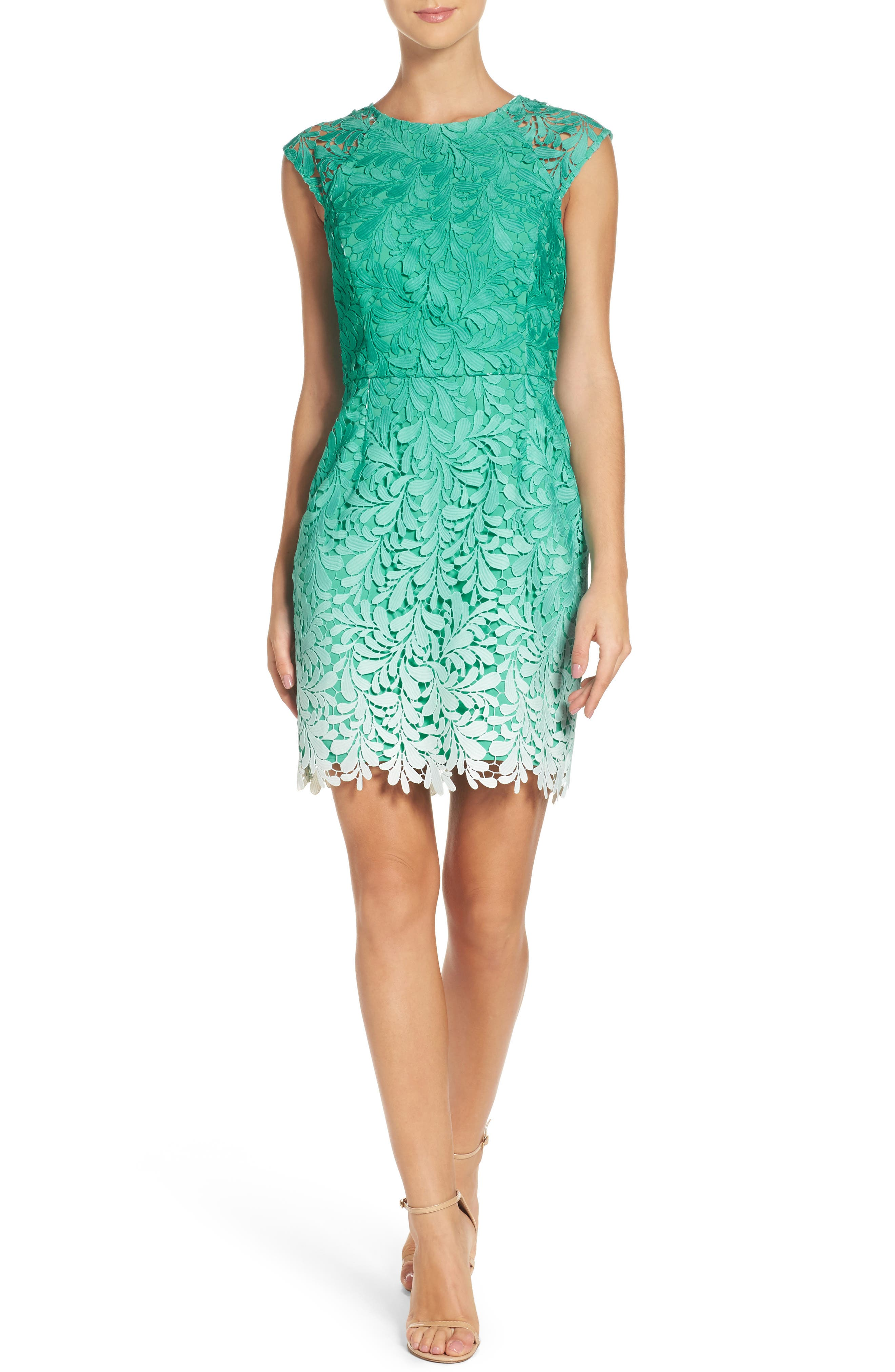 Ombré Lace Sheath Dress,                             Main thumbnail 1, color,                             Seafoam