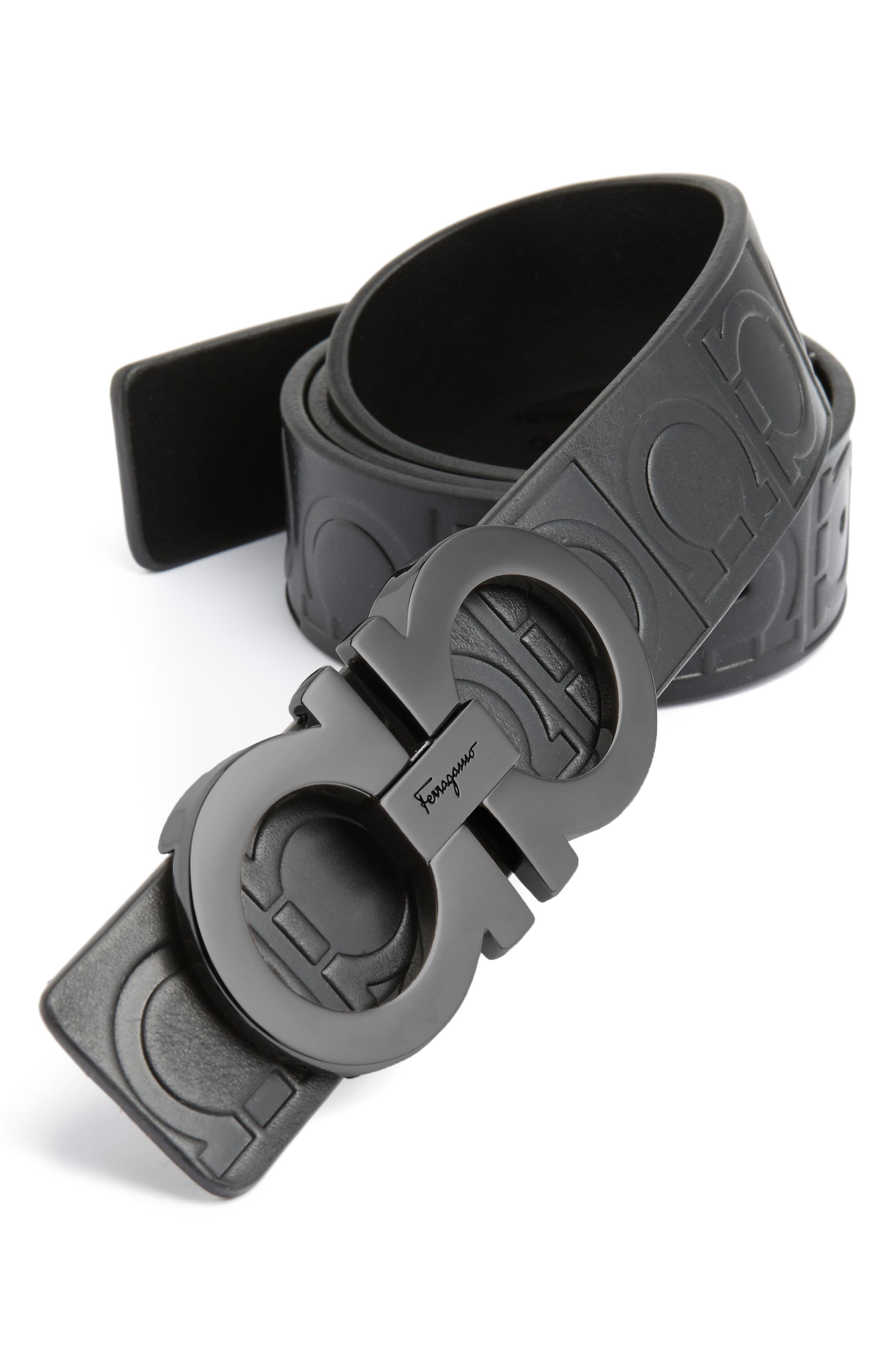 Calfskin Leather Belt,                             Main thumbnail 1, color,                             Nero