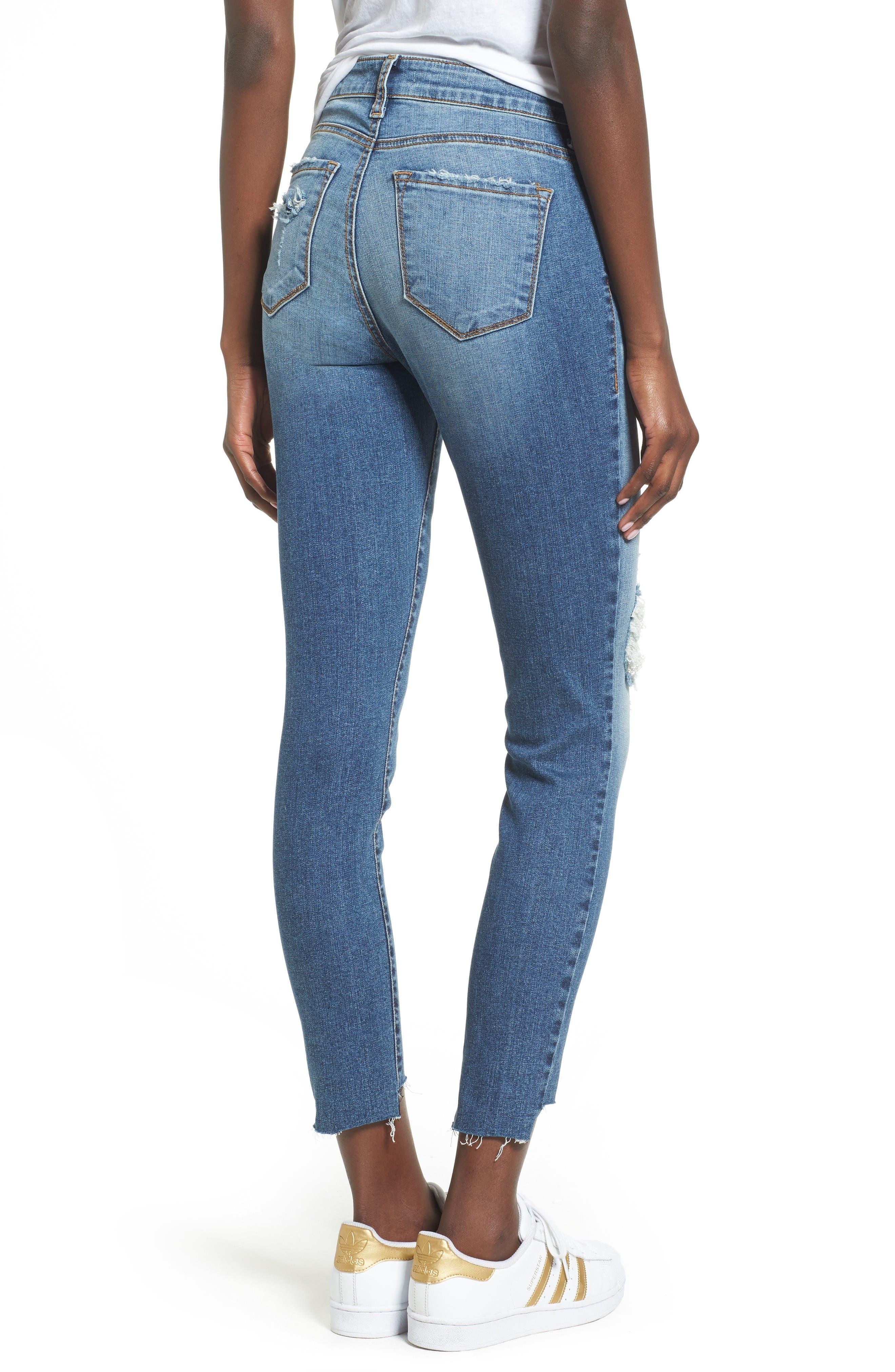 Alternate Image 2  - BP. Ripped Step Hem Skinny Jeans (Destroy Rinse)