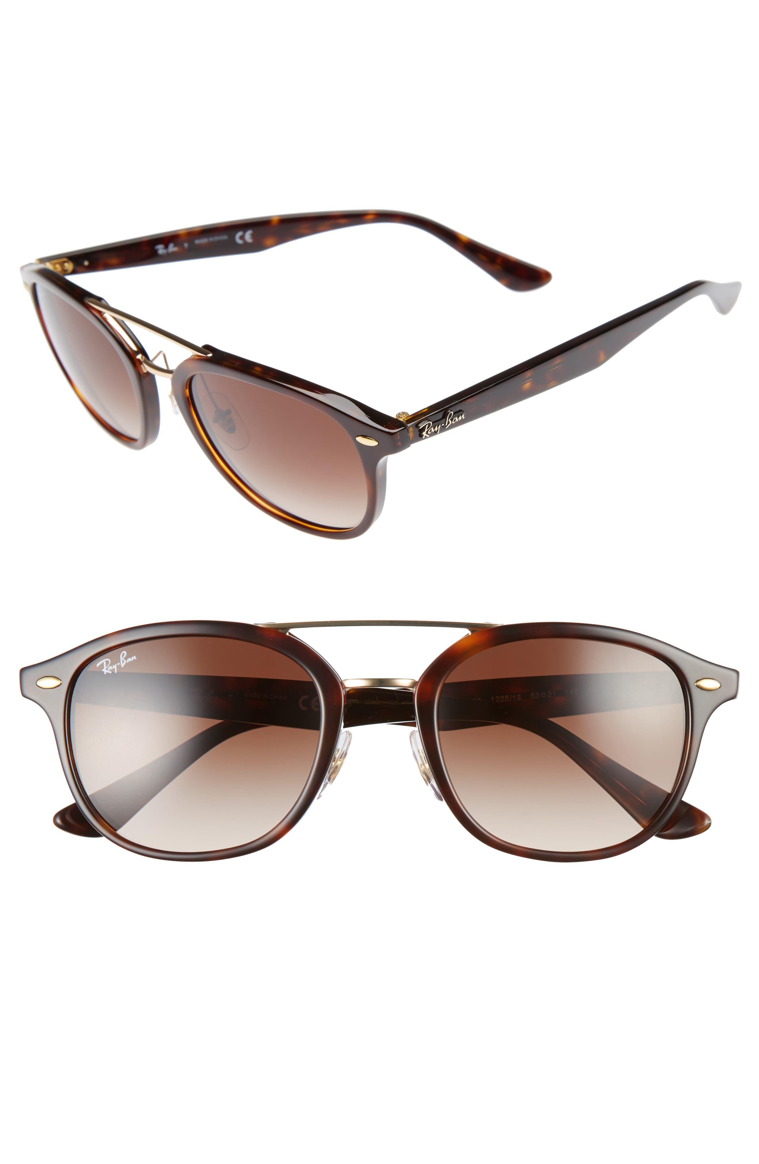 Highstreet 53mm Gradient Lens Sunglasses,                         Main,                         color, Brown Havana