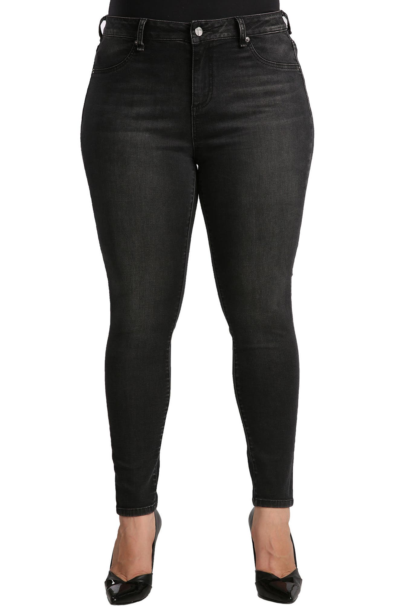 Parker Mid Rise Skinny Jeans,                         Main,                         color, Grey