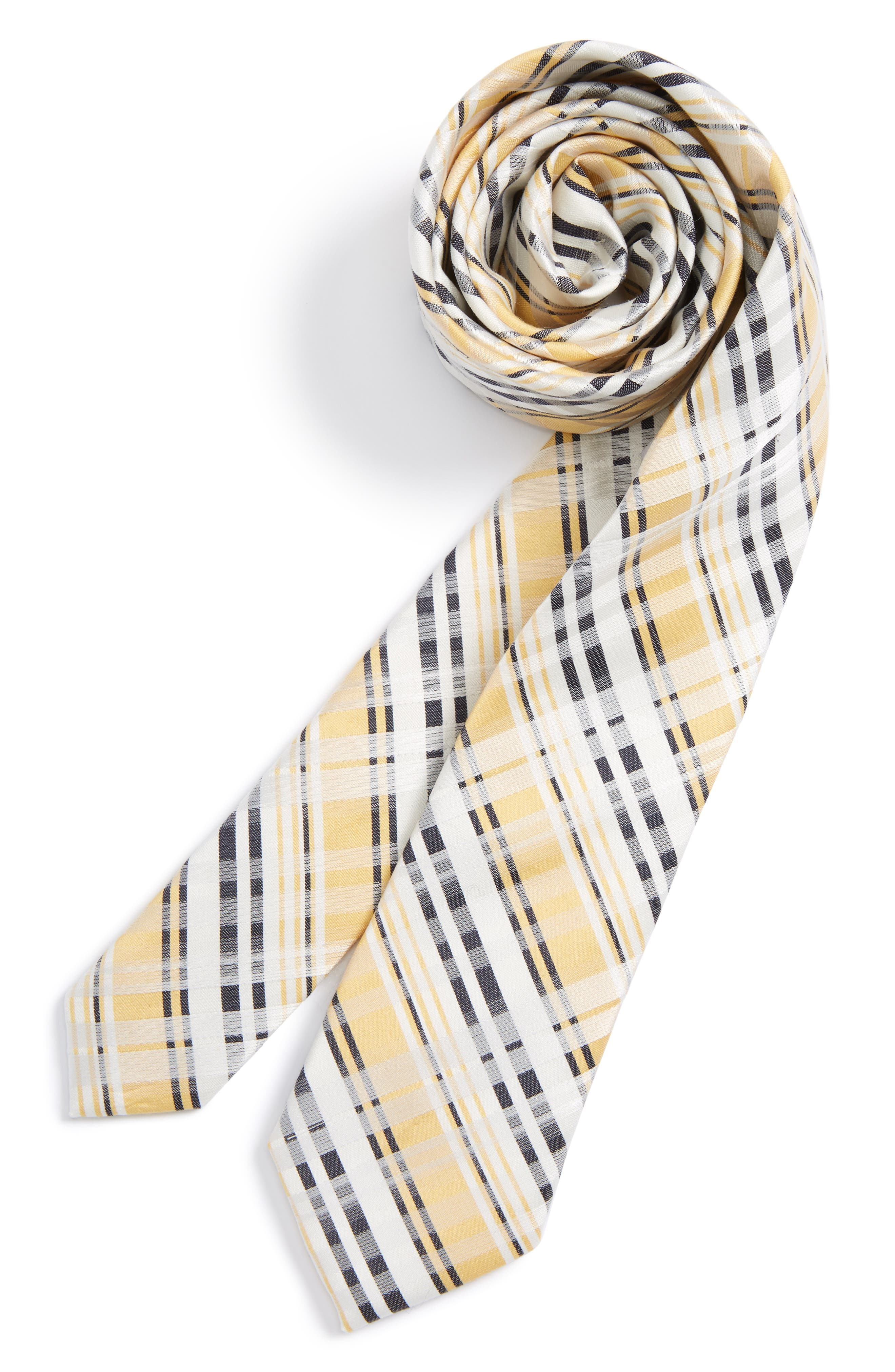 Nordstrom Plaid Cotton & Silk Tie (Big Boys)