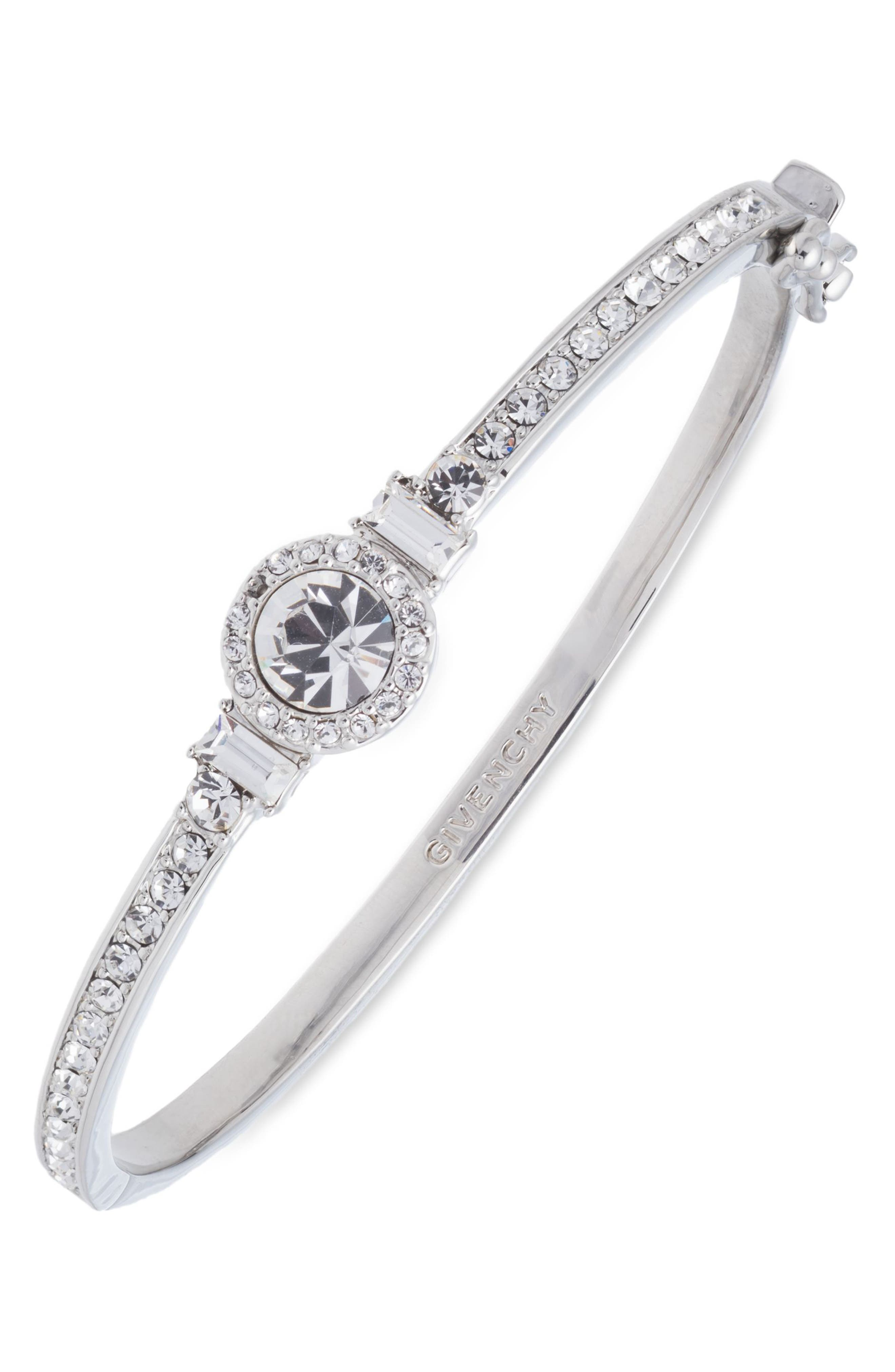 Crystal Bangle,                             Main thumbnail 1, color,                             Silver