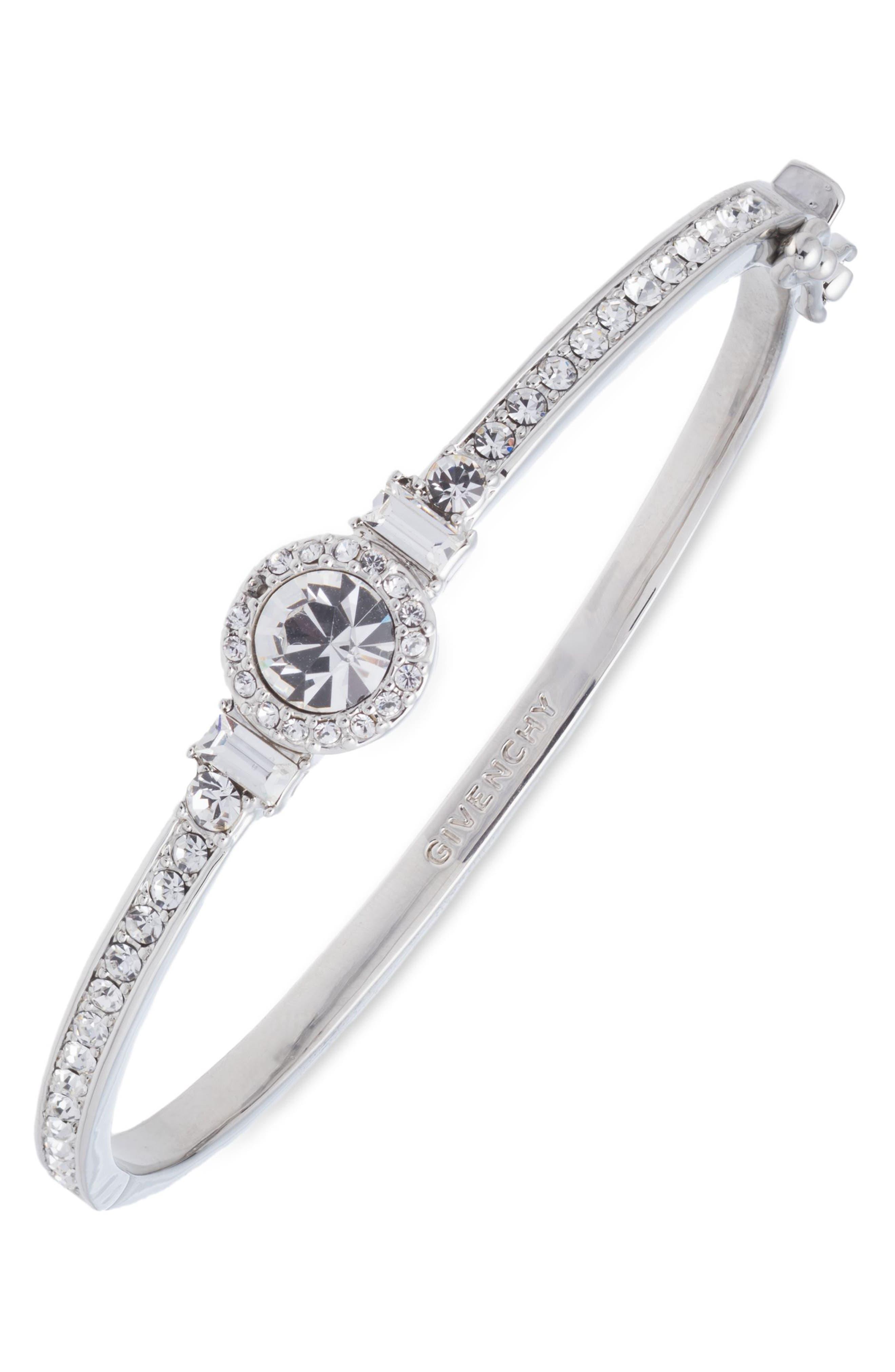 Crystal Bangle,                         Main,                         color, Silver