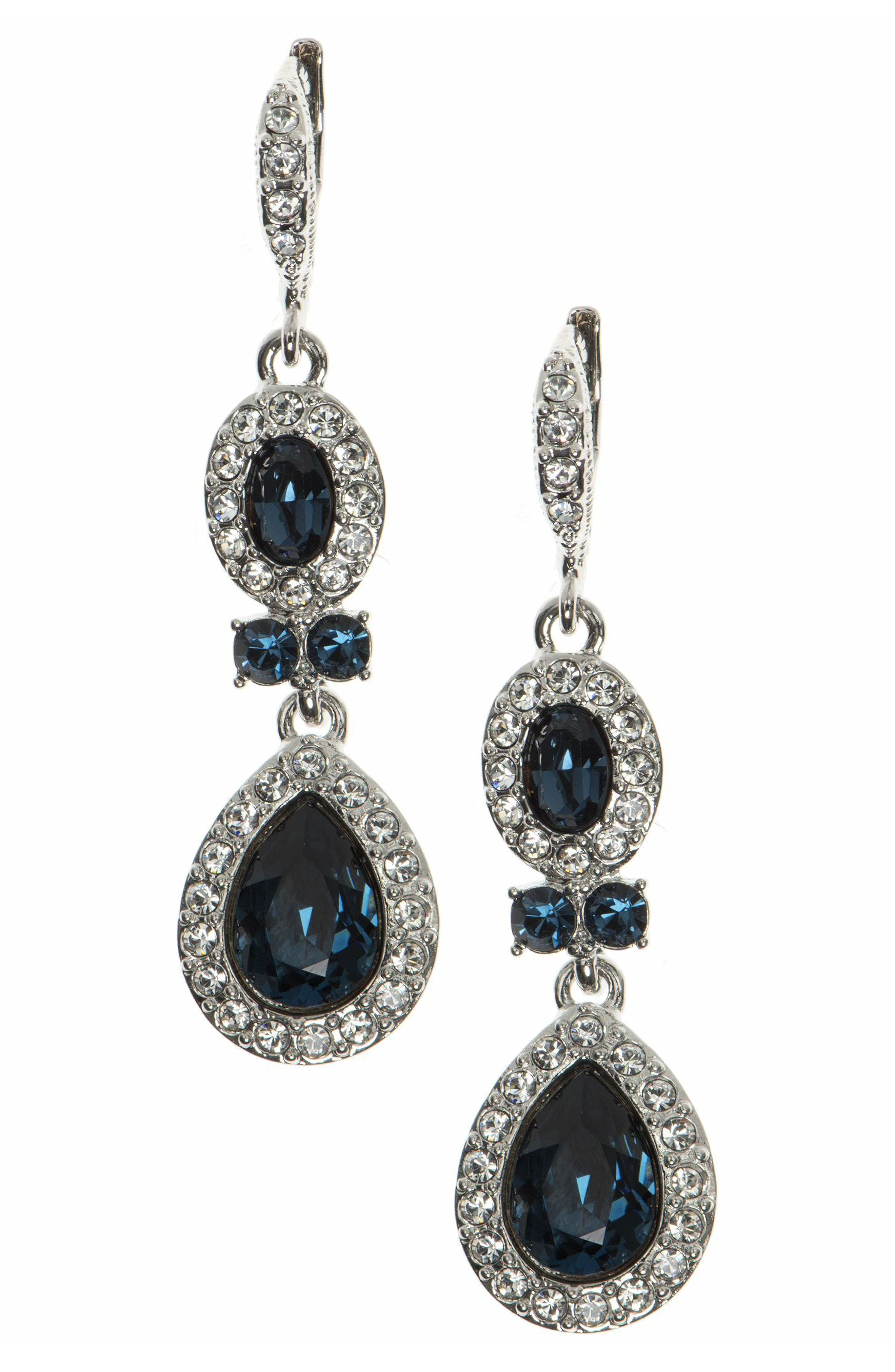 Pear Double Drop Earrings,                         Main,                         color, Blue / Silver