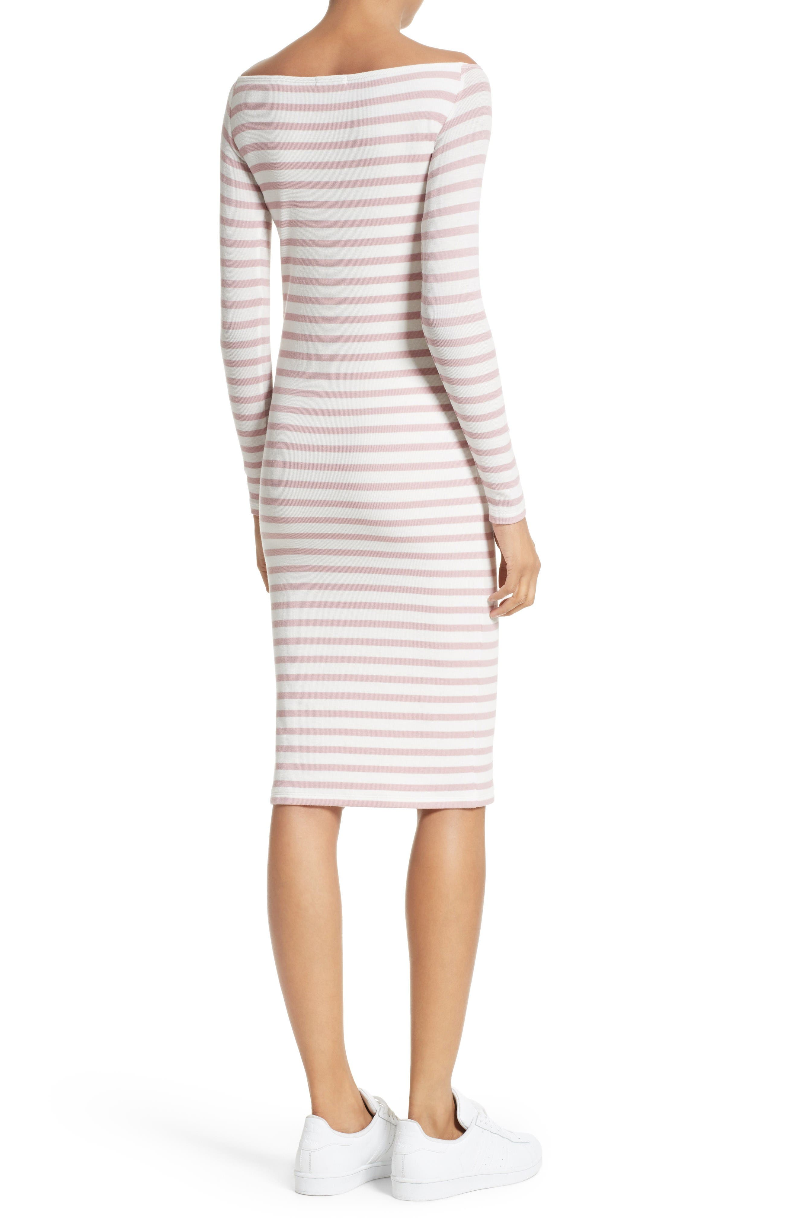 Off the Shoulder Rib Dress,                             Alternate thumbnail 3, color,                             Nutmeg/ Chalk Stripe