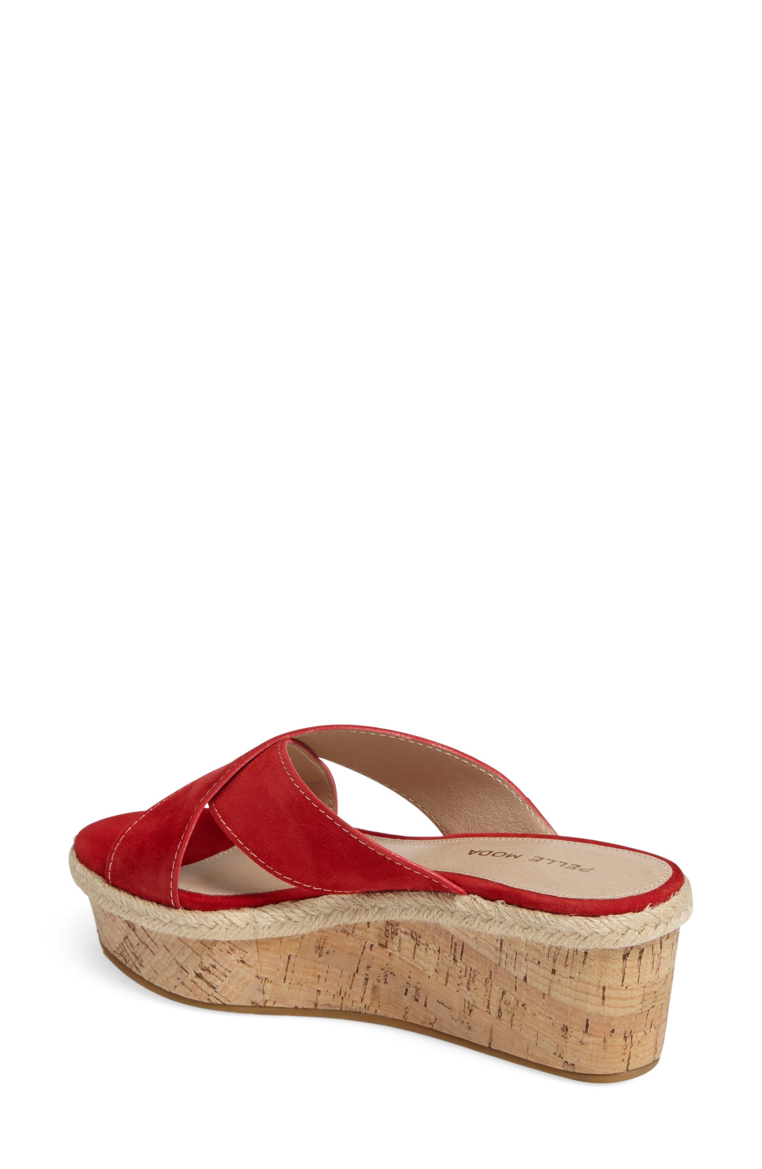 Harriet Platform Wedge Sandal,                             Alternate thumbnail 2, color,                             Lipstick Leather