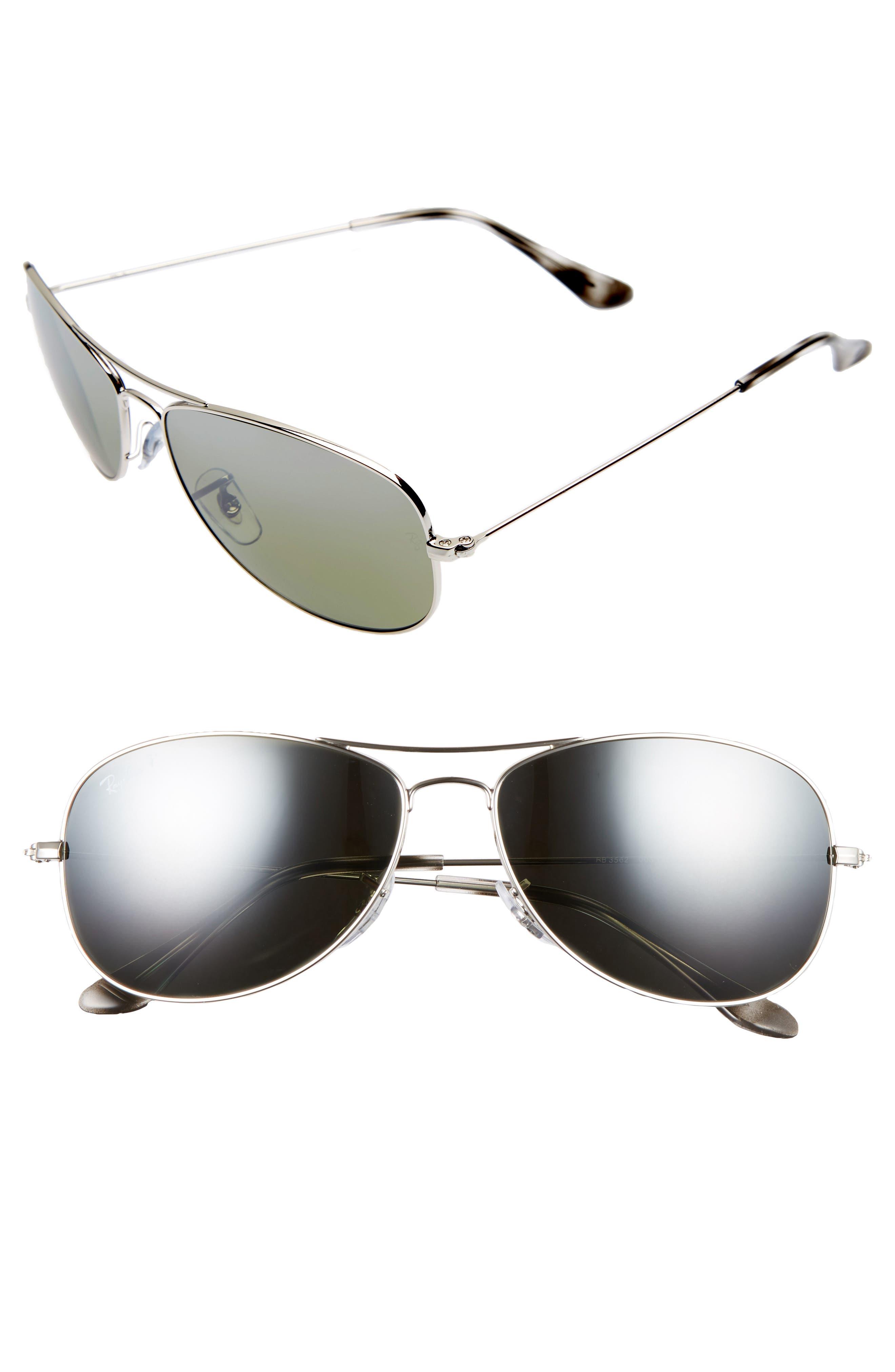 59mm Polarized Aviator Sunglasses,                         Main,                         color, Grey/ Mirror