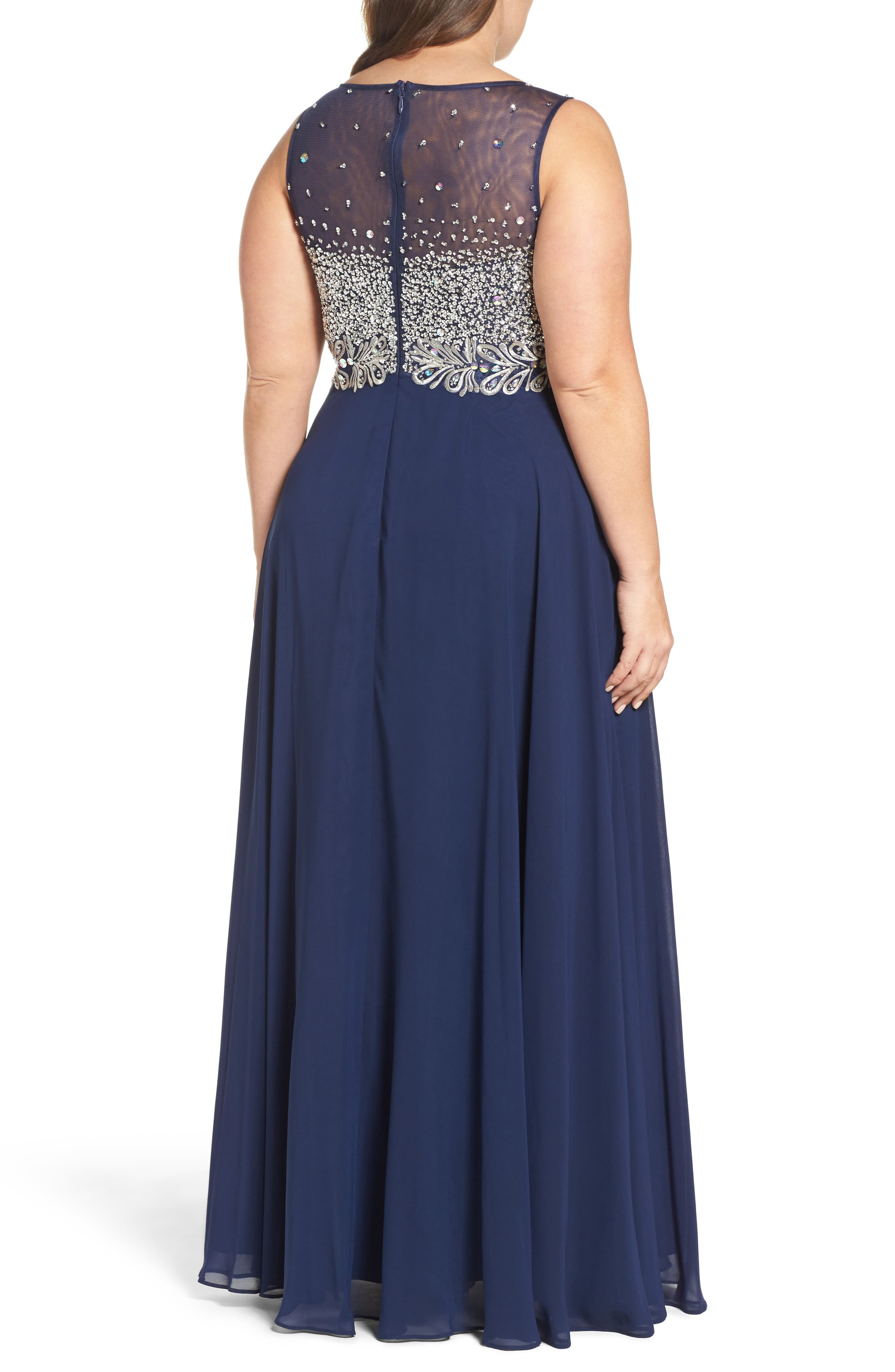 Beaded Illusion Bodice A-Line Gown,                             Alternate thumbnail 2, color,                             Navy
