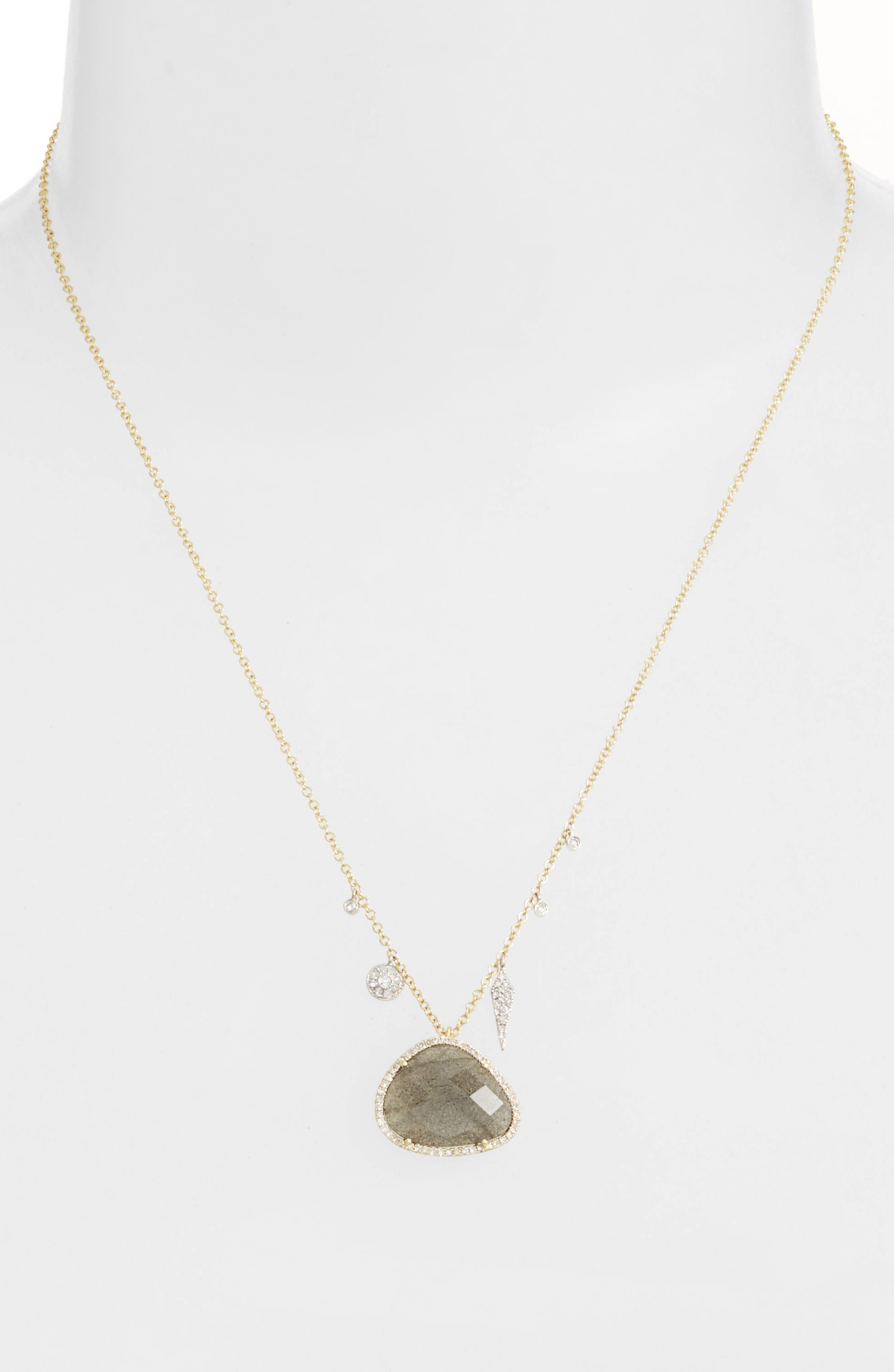 Jewelry Diamond & Semiprecious Stone Pendant Necklace,                             Alternate thumbnail 2, color,                             Yellow Gold/ Labradorite