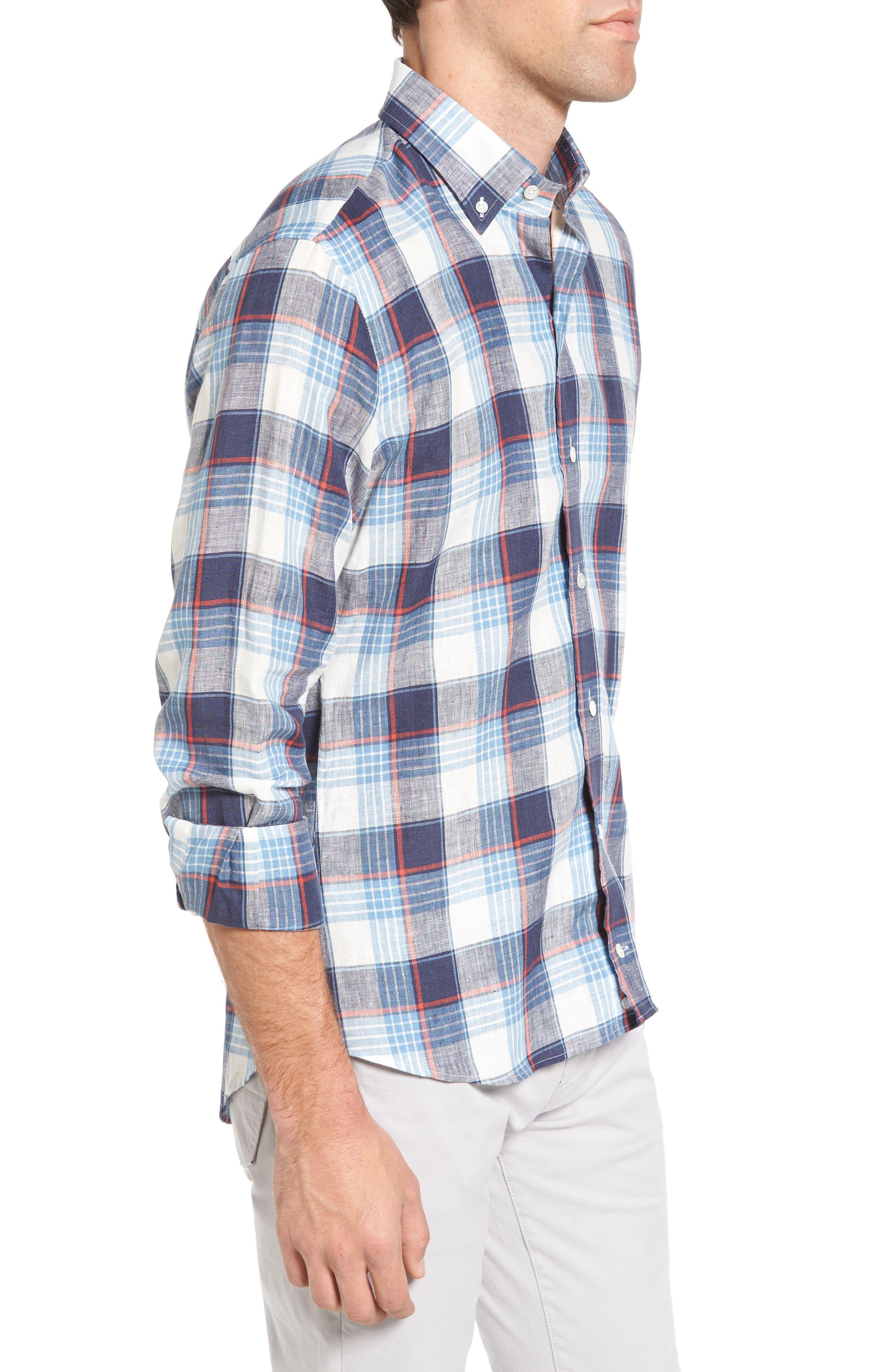 Trim Fit Plaid Linen Sport Shirt,                             Alternate thumbnail 3, color,                             Cadet Blue