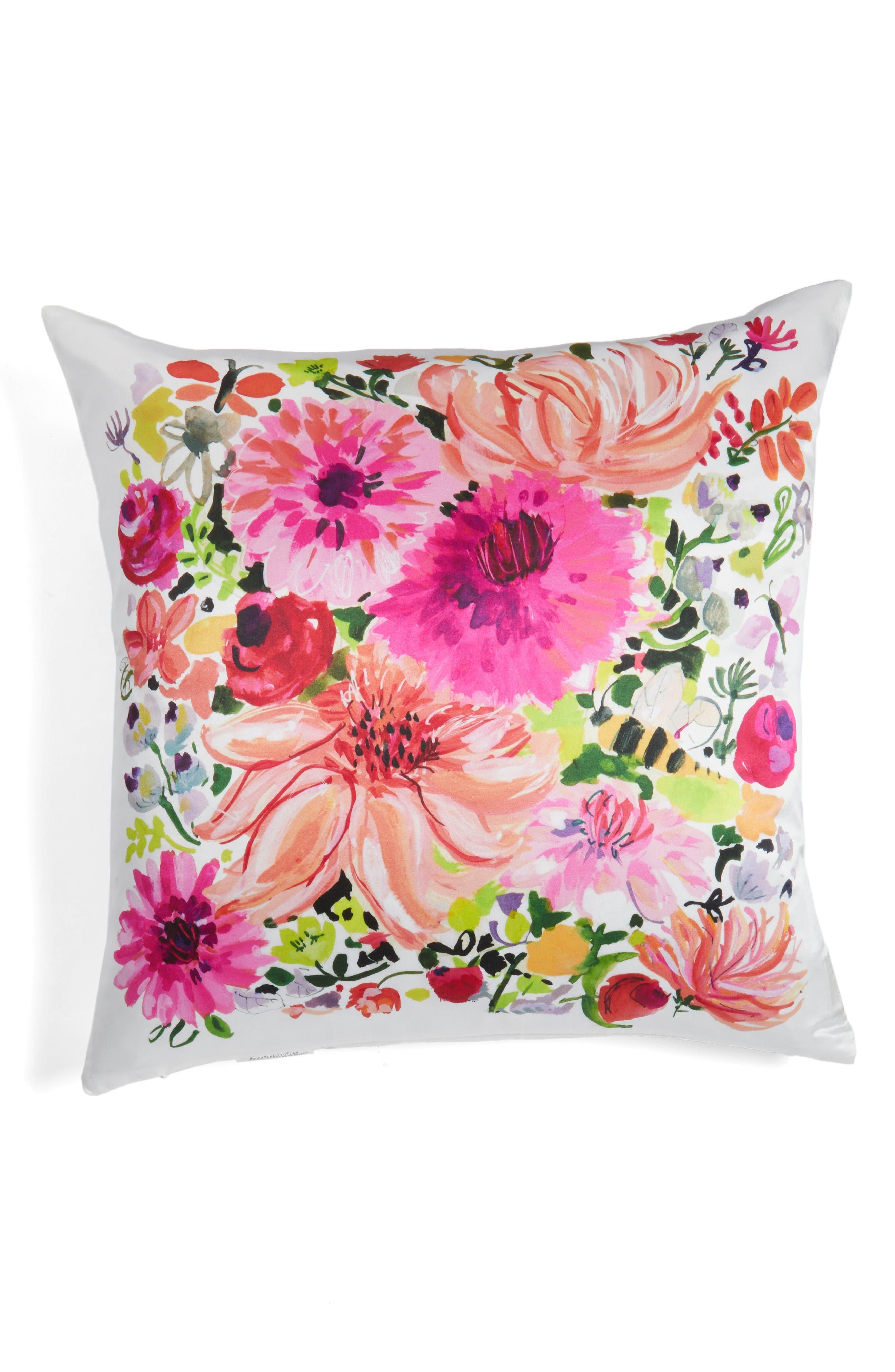 dahlia accent pillow,                         Main,                         color, Pink/ Multi