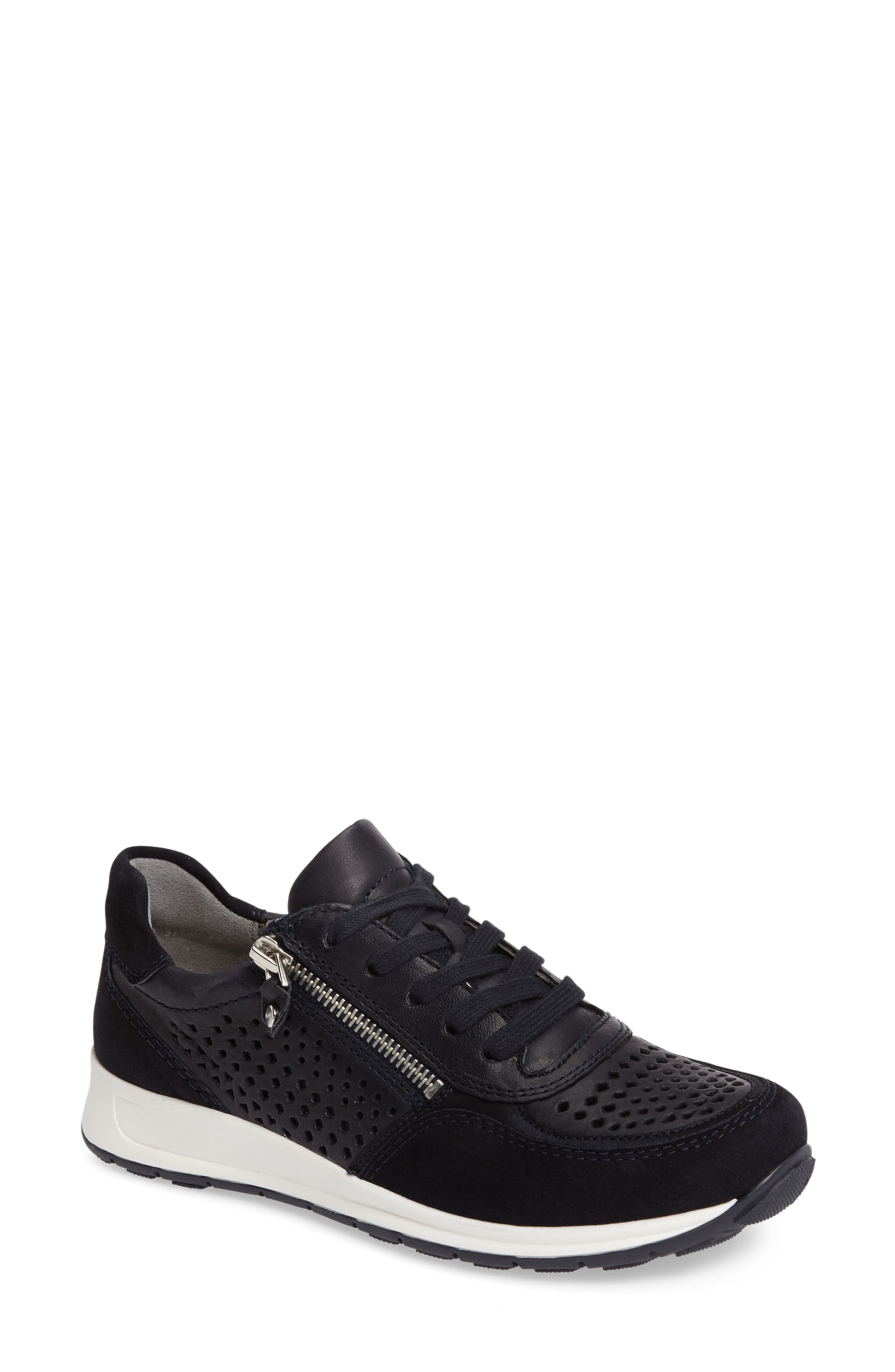 Olivia Perforated Sneaker,                         Main,                         color, Navy Suede
