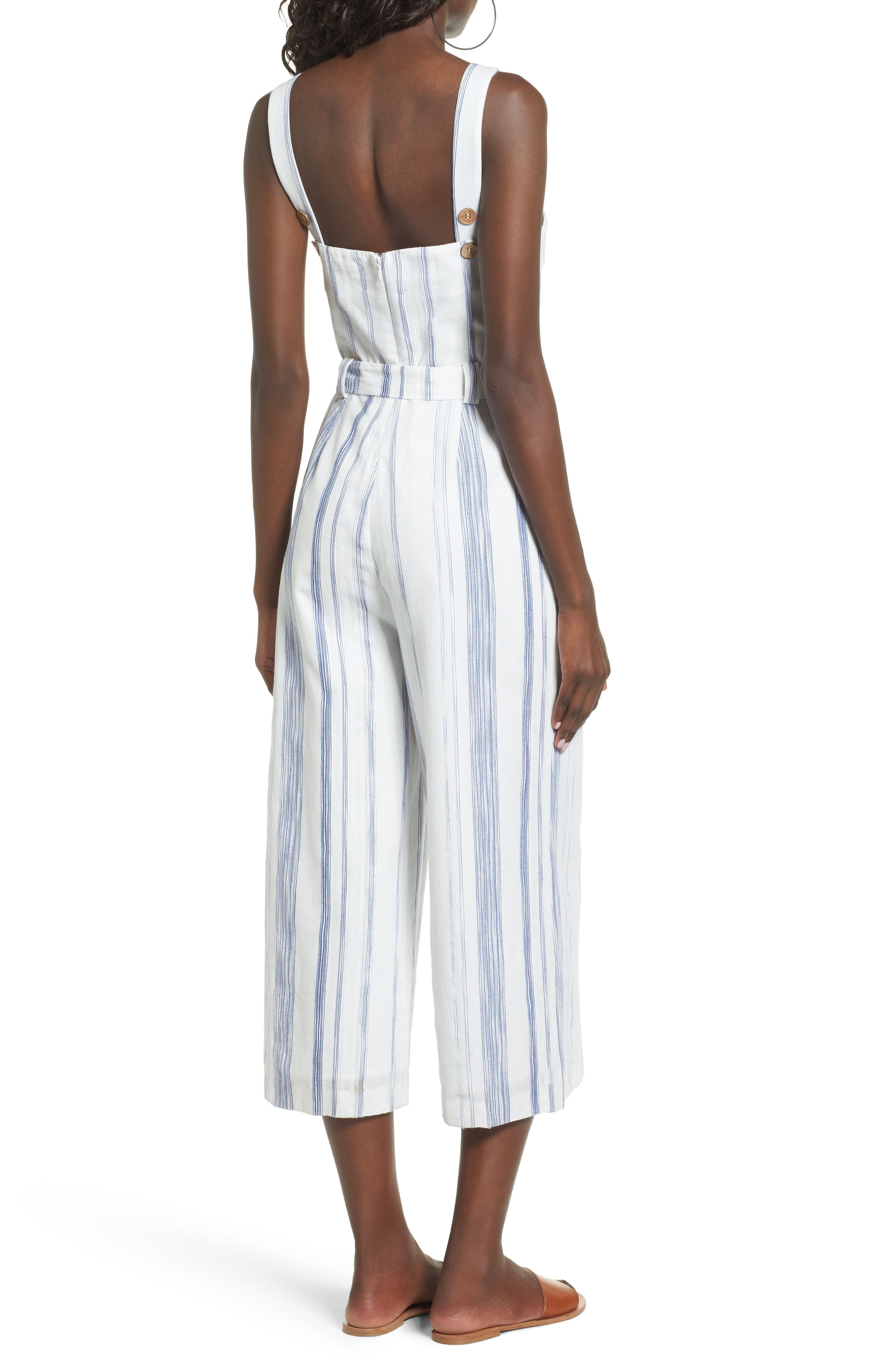 Alternate Image 2  - J.O.A. Crop Stripe Cotton Jumpsuit
