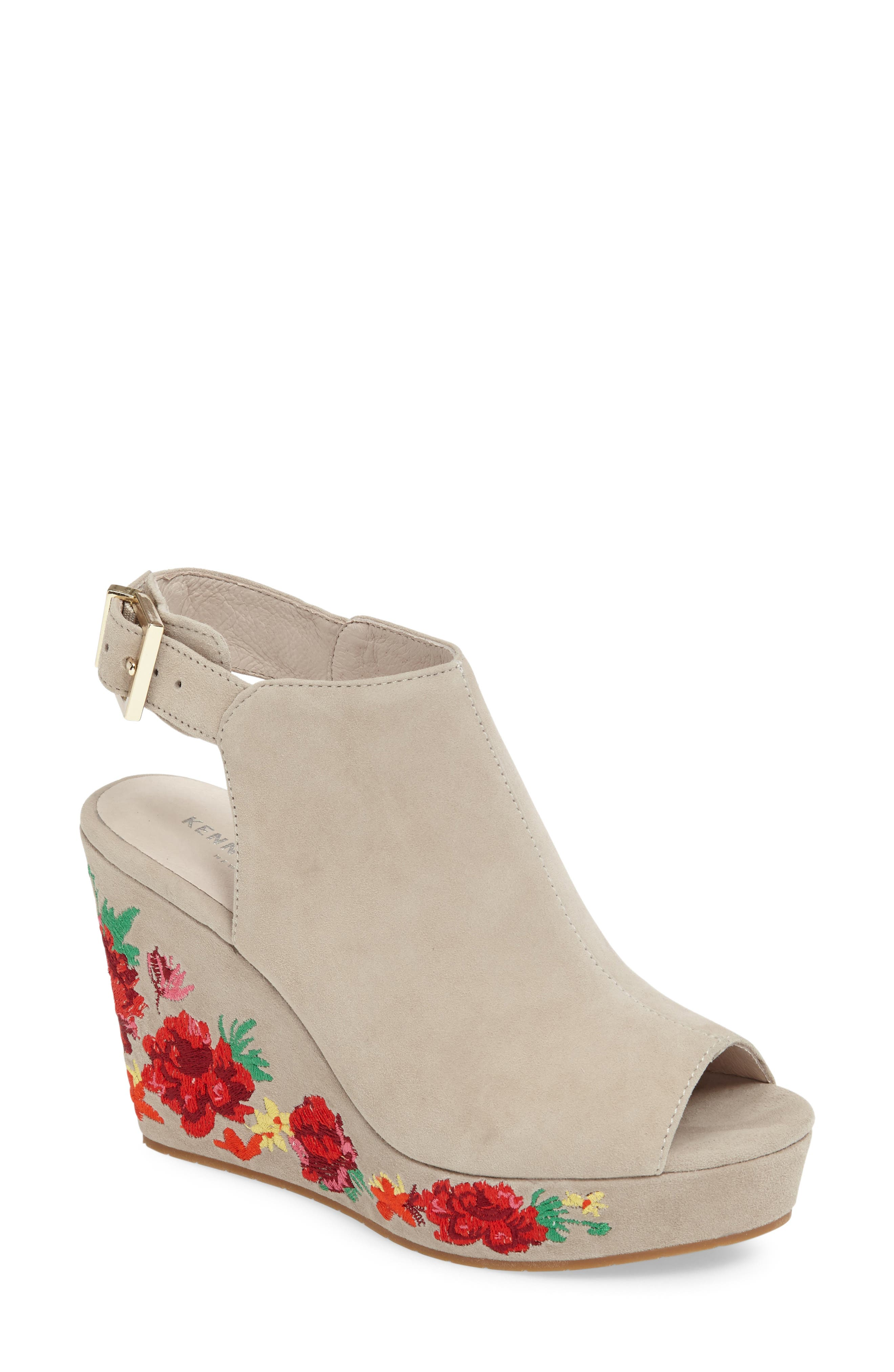 Olani Embroidered Wedge Sandal,                         Main,                         color, Taupe Suede