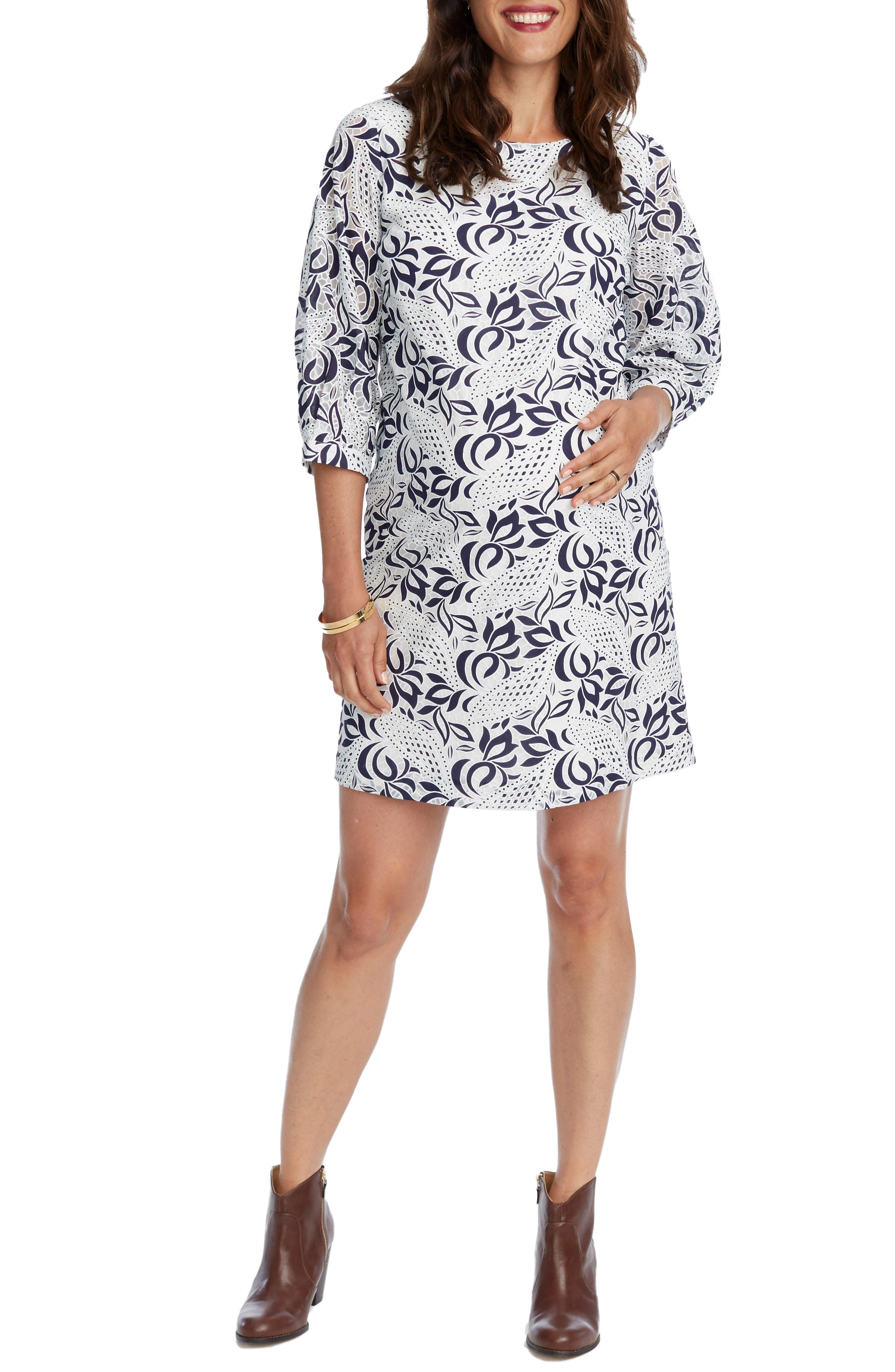 'Kelly' Lace Maternity Dress,                         Main,                         color, Navy/ White