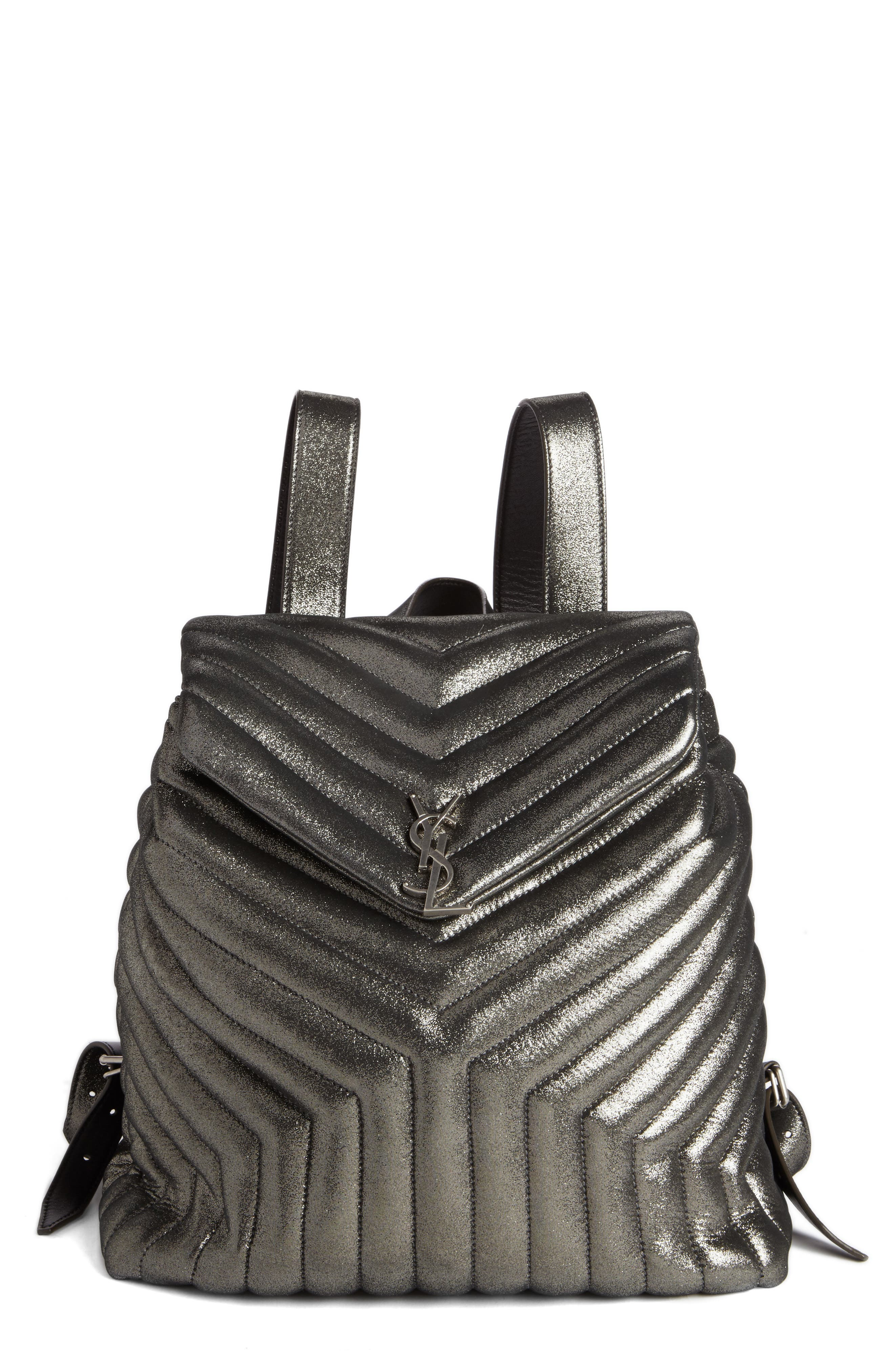 Saint Laurent Metallic Calfskin Leather Backpack