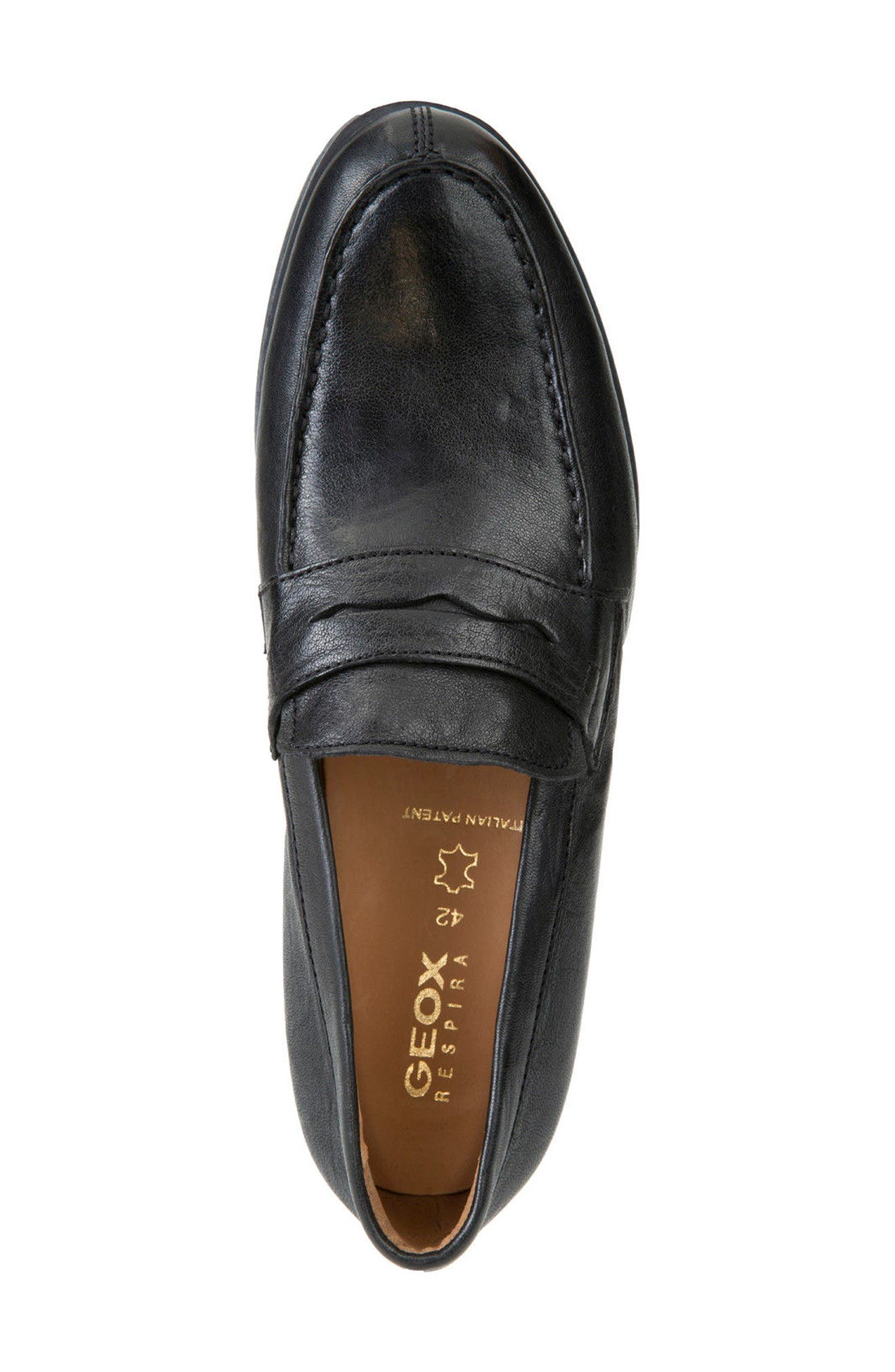 Besmington 6 Penny Loafer,                             Alternate thumbnail 4, color,                             Black Leather