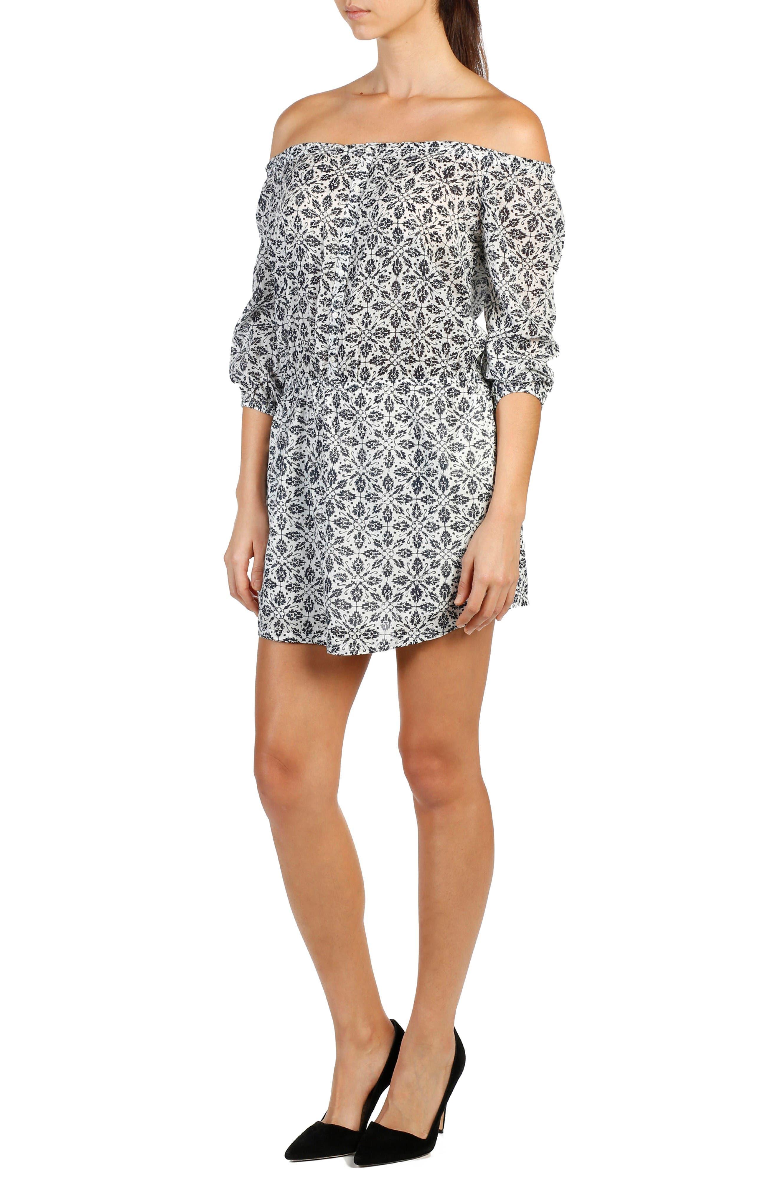 Clover Cotton Off the Shoulder Dress,                         Main,                         color, Pristine/ Peacoat