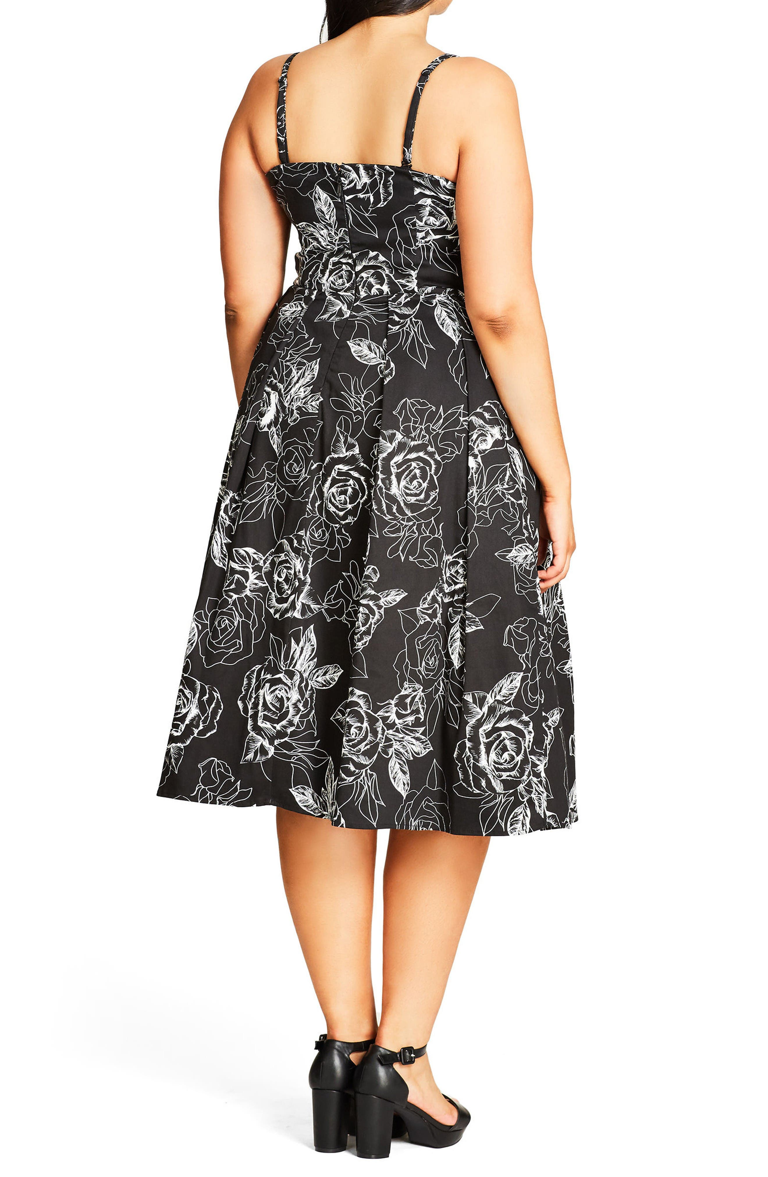 Alternate Image 2  - City Chic Mono Garden Fit & Flare Dress (Plus Size)