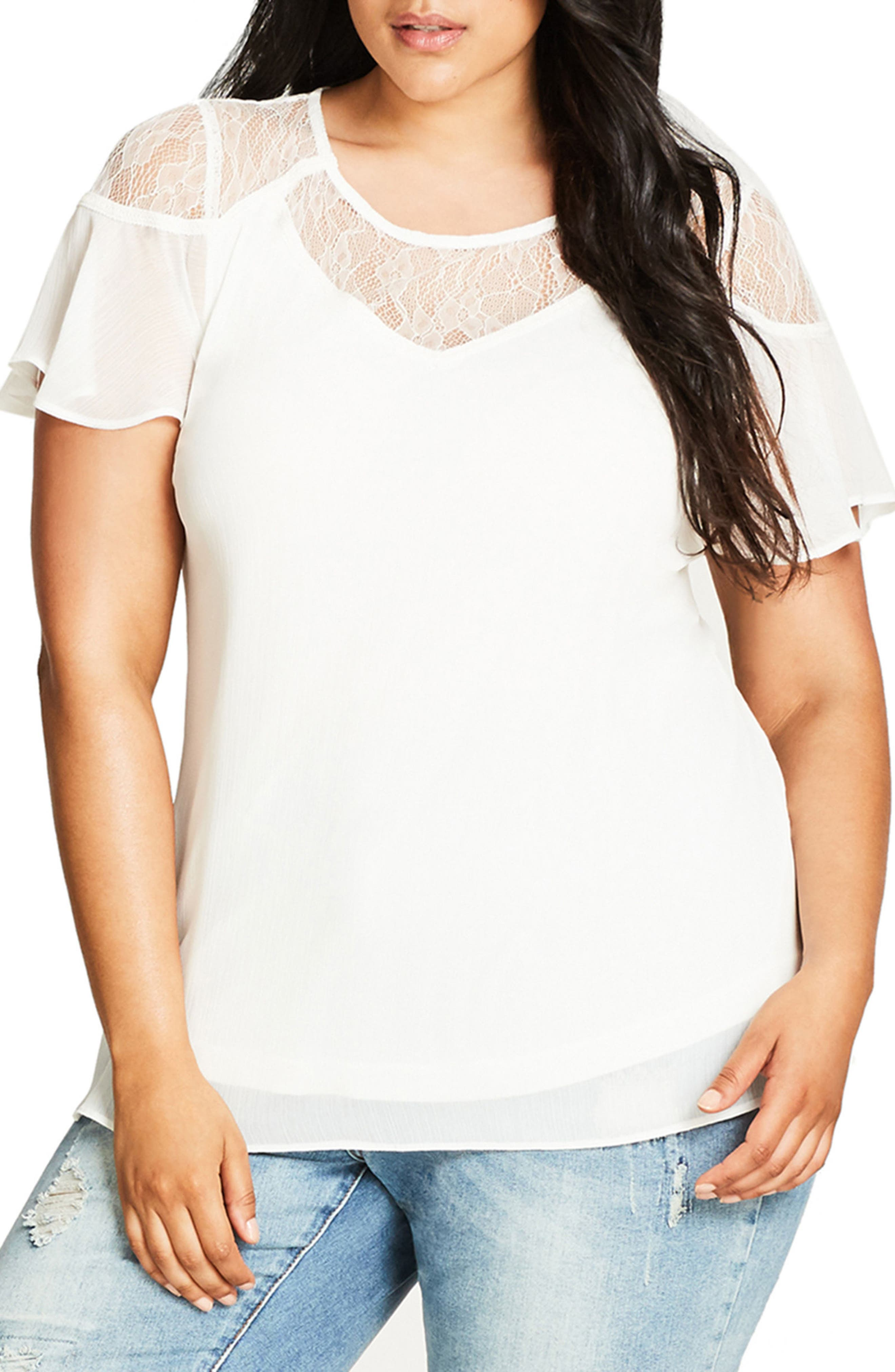 Main Image - City Chic Whimsy Lace Yoke Top (Plus Size)