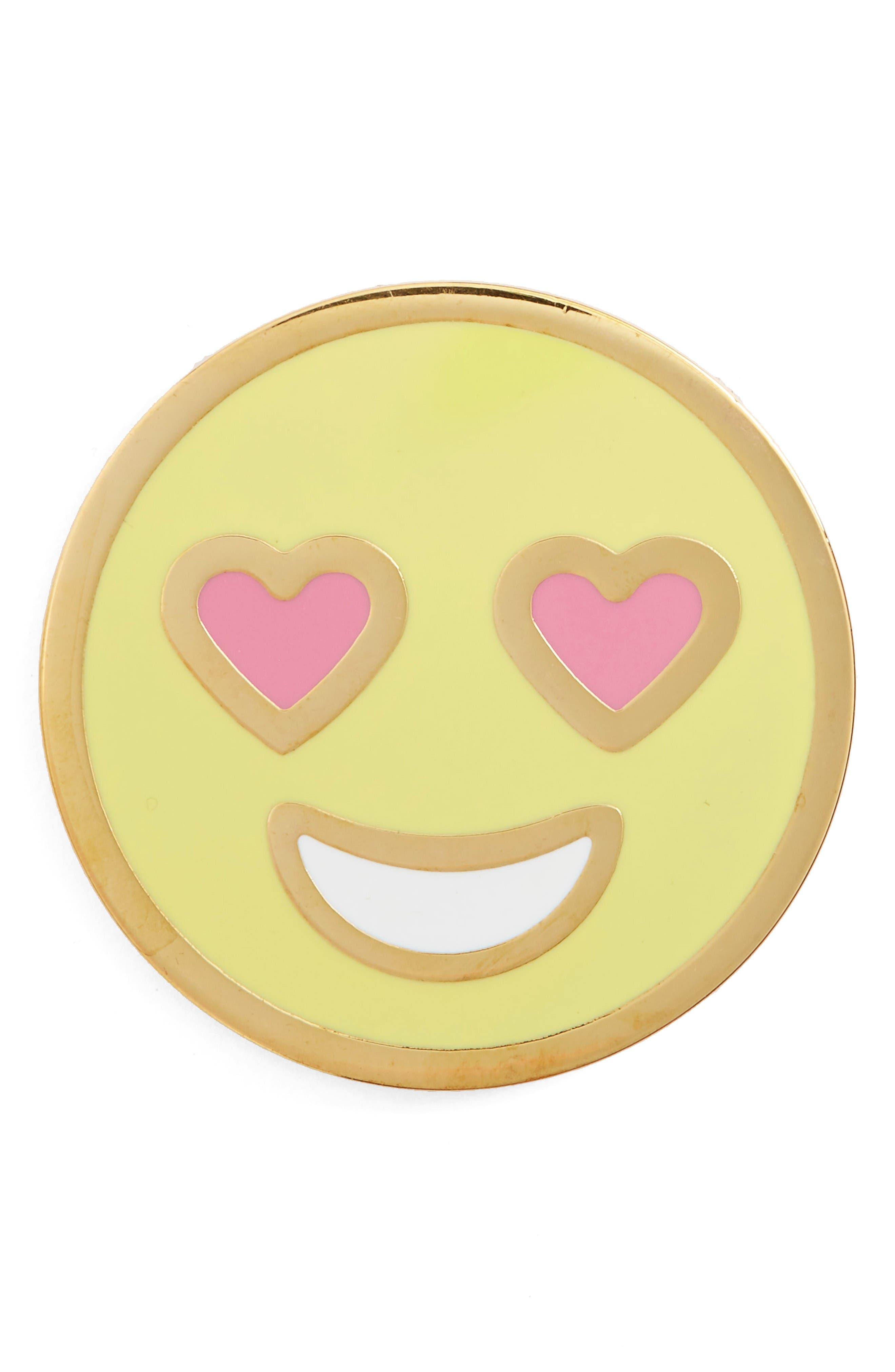 Main Image - Stoney Clover Lane Enamel Heart Eyes Smiley Pin