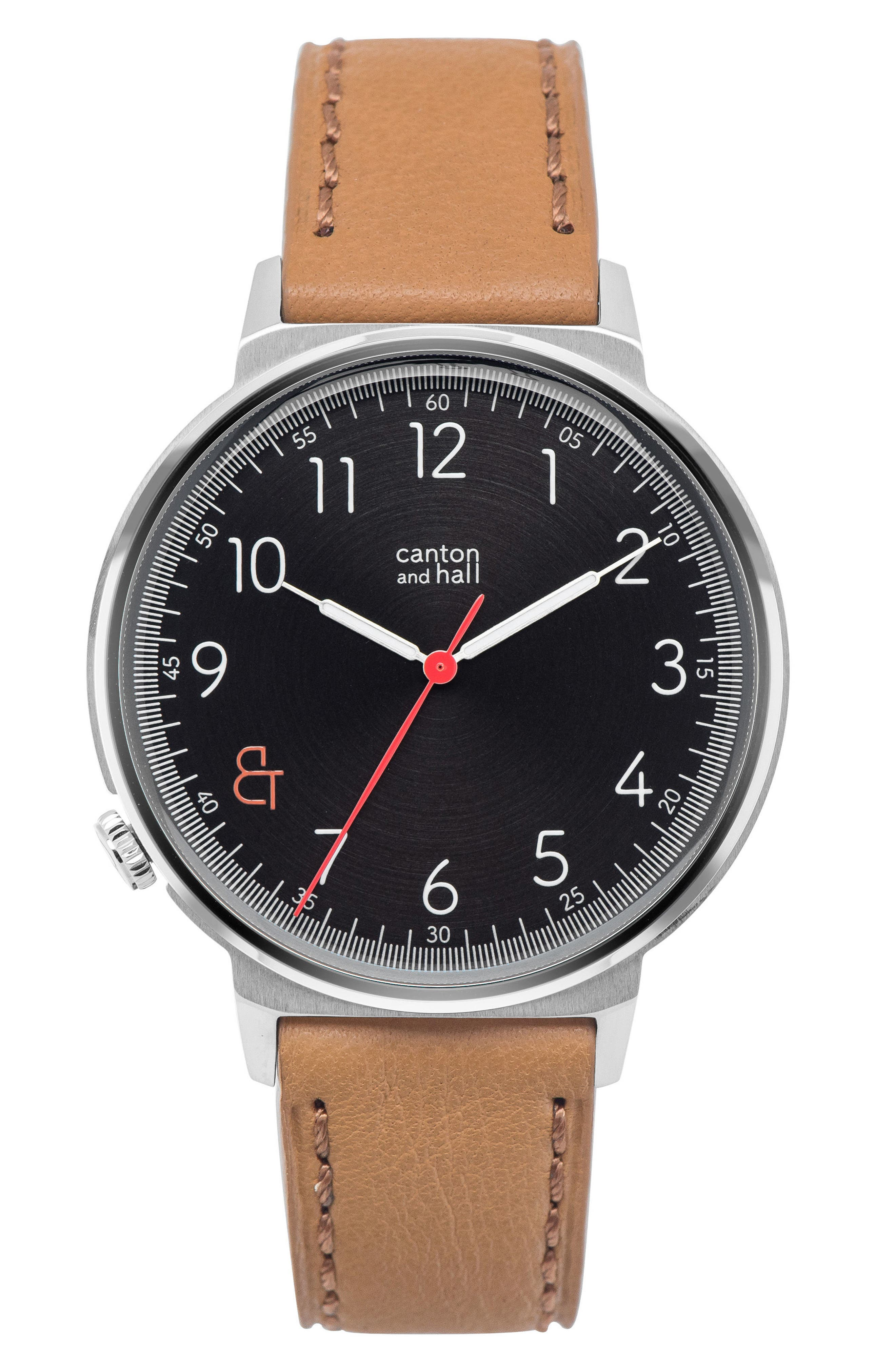 Leather Strap Watch, 44mm,                             Main thumbnail 1, color,                             Black/ Tan