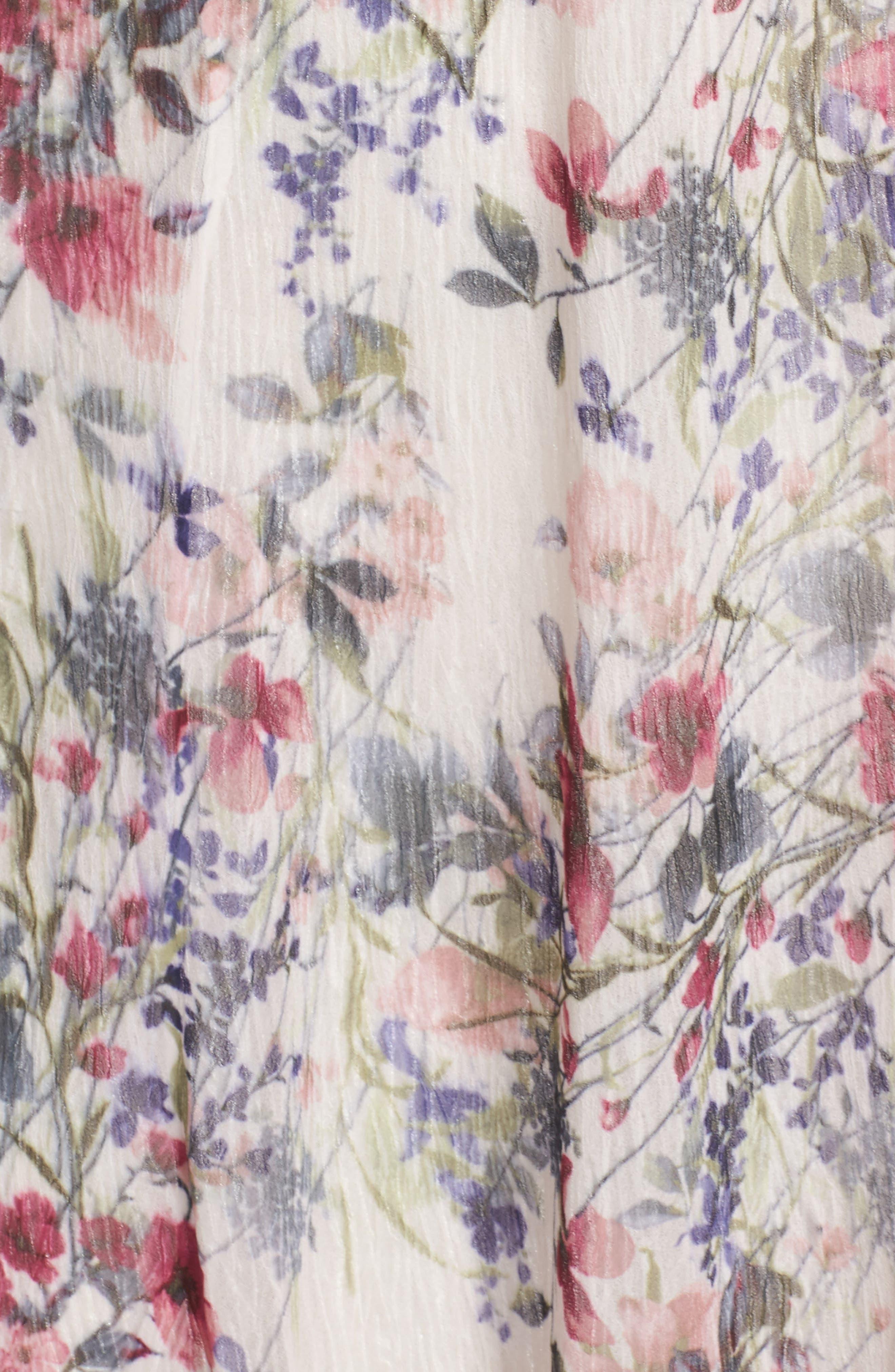 Chiffon Midi Dress,                             Alternate thumbnail 5, color,                             Wildflower