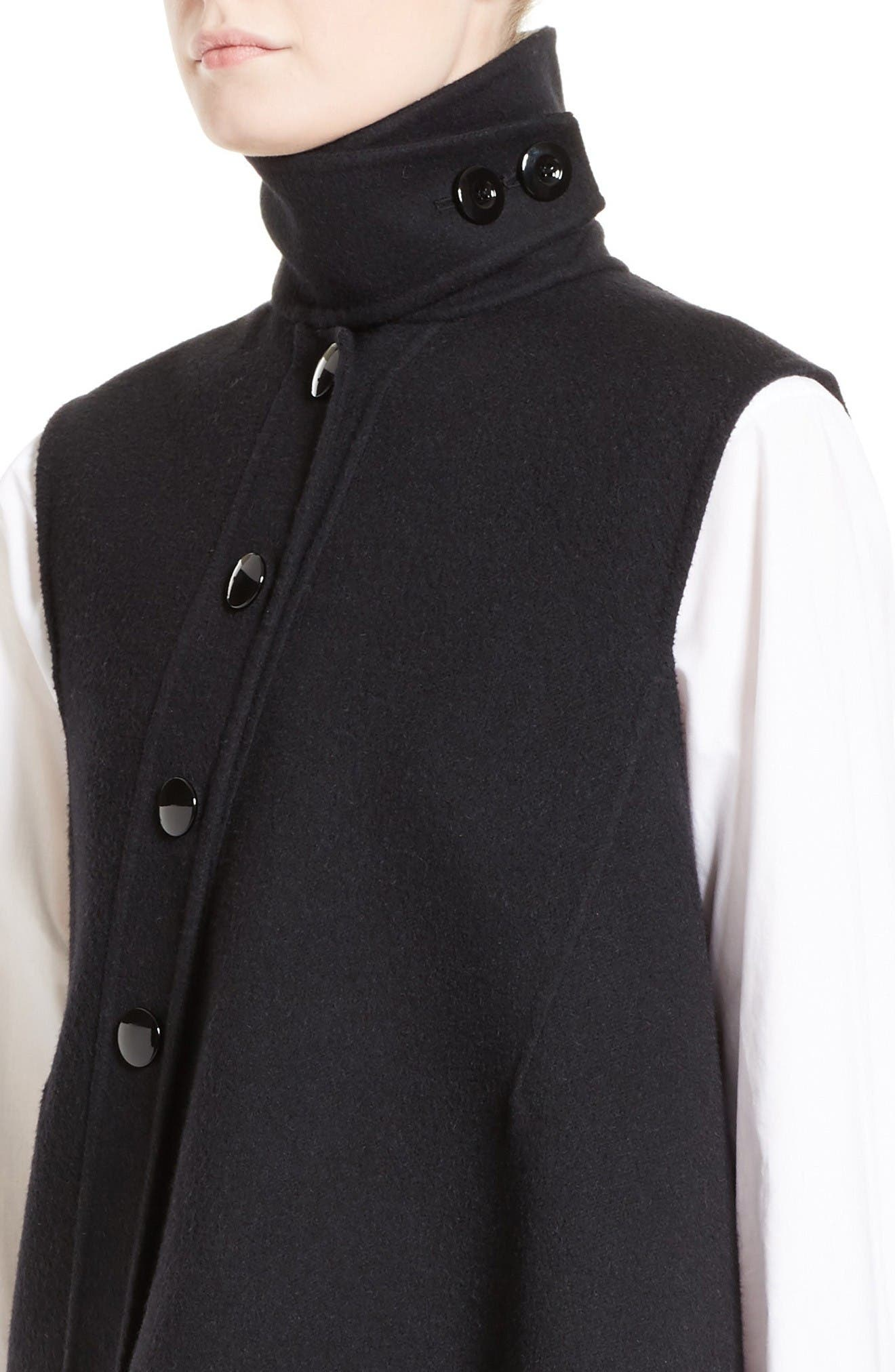 Wool, Alpaca & Cashmere Asymmetrical Vest,                             Alternate thumbnail 5, color,                             Black