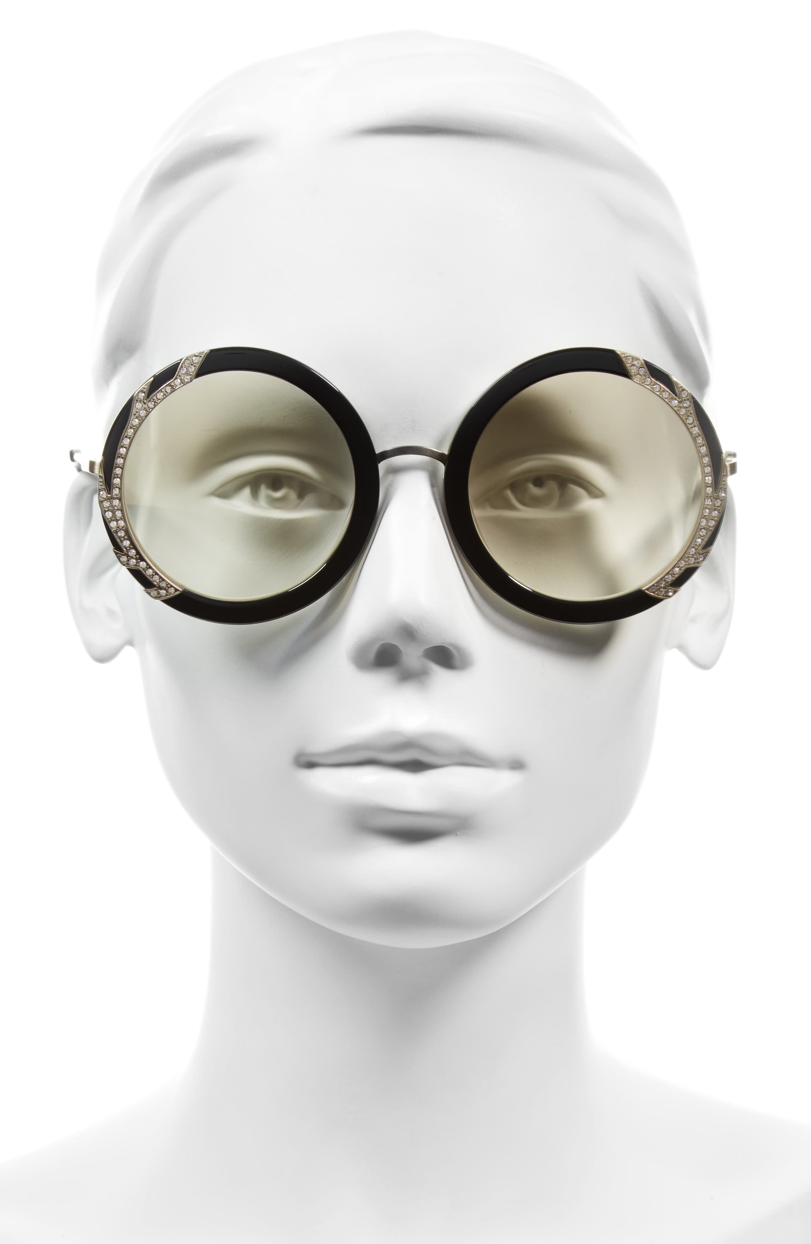 Alternate Image 2  - Alice + Olivia Beverly Crystal 53mm Special Fit Round Sunglasses