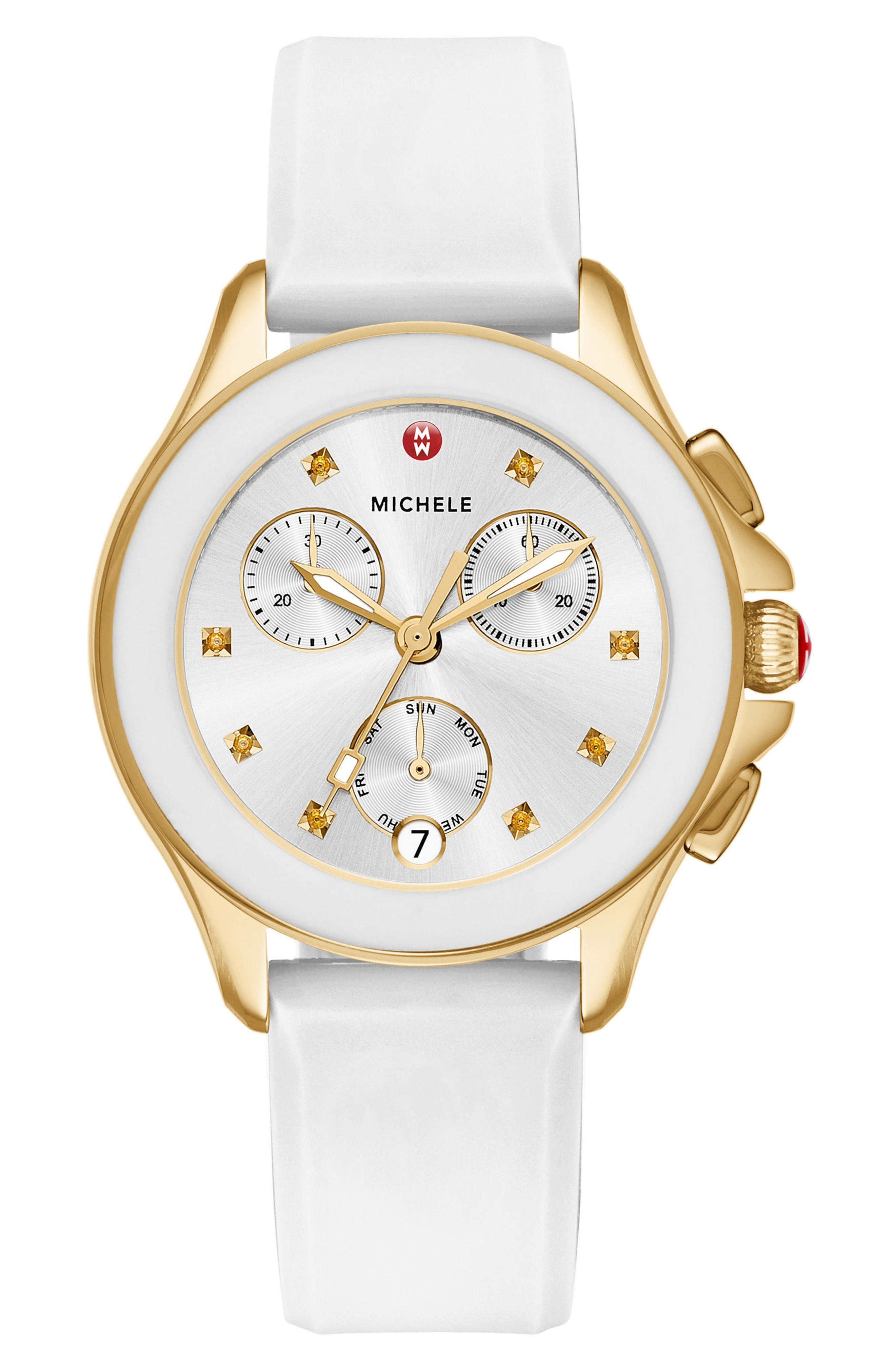 Cape Chronograph Silicone Strap Watch, 34mm,                             Main thumbnail 1, color,                             White/ Silver/ Gold