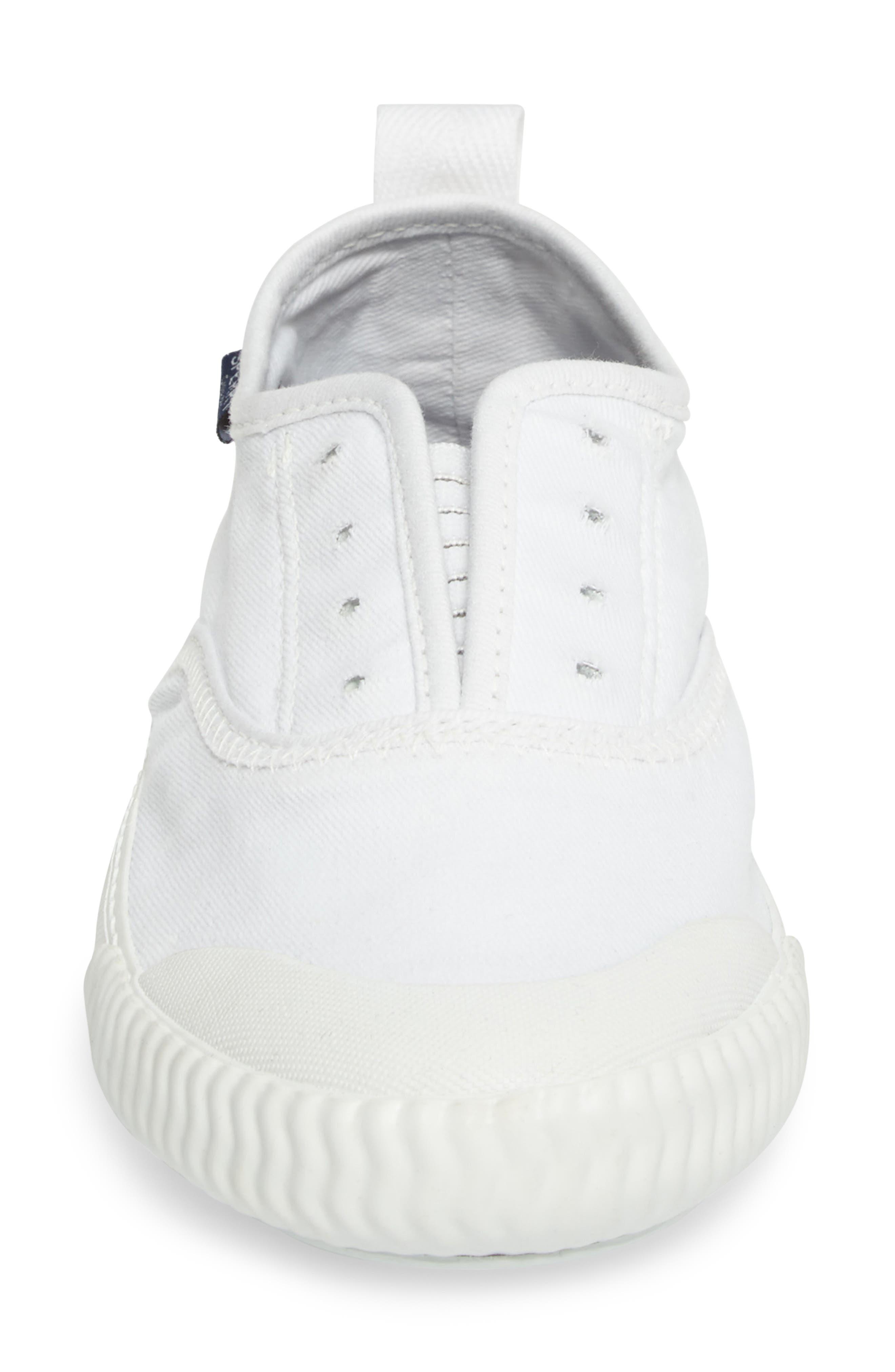Sayel Slip-On Sneaker,                             Alternate thumbnail 4, color,                             White Fabric
