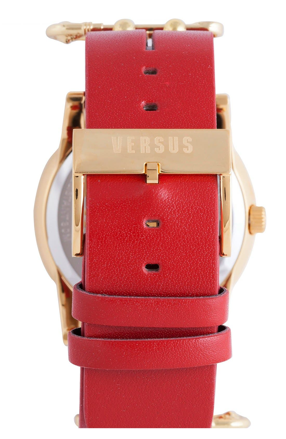 Alternate Image 2  - VERSUS by Versace 'Miami' Rivet & Safety Pin Leather Strap Watch, 40mm