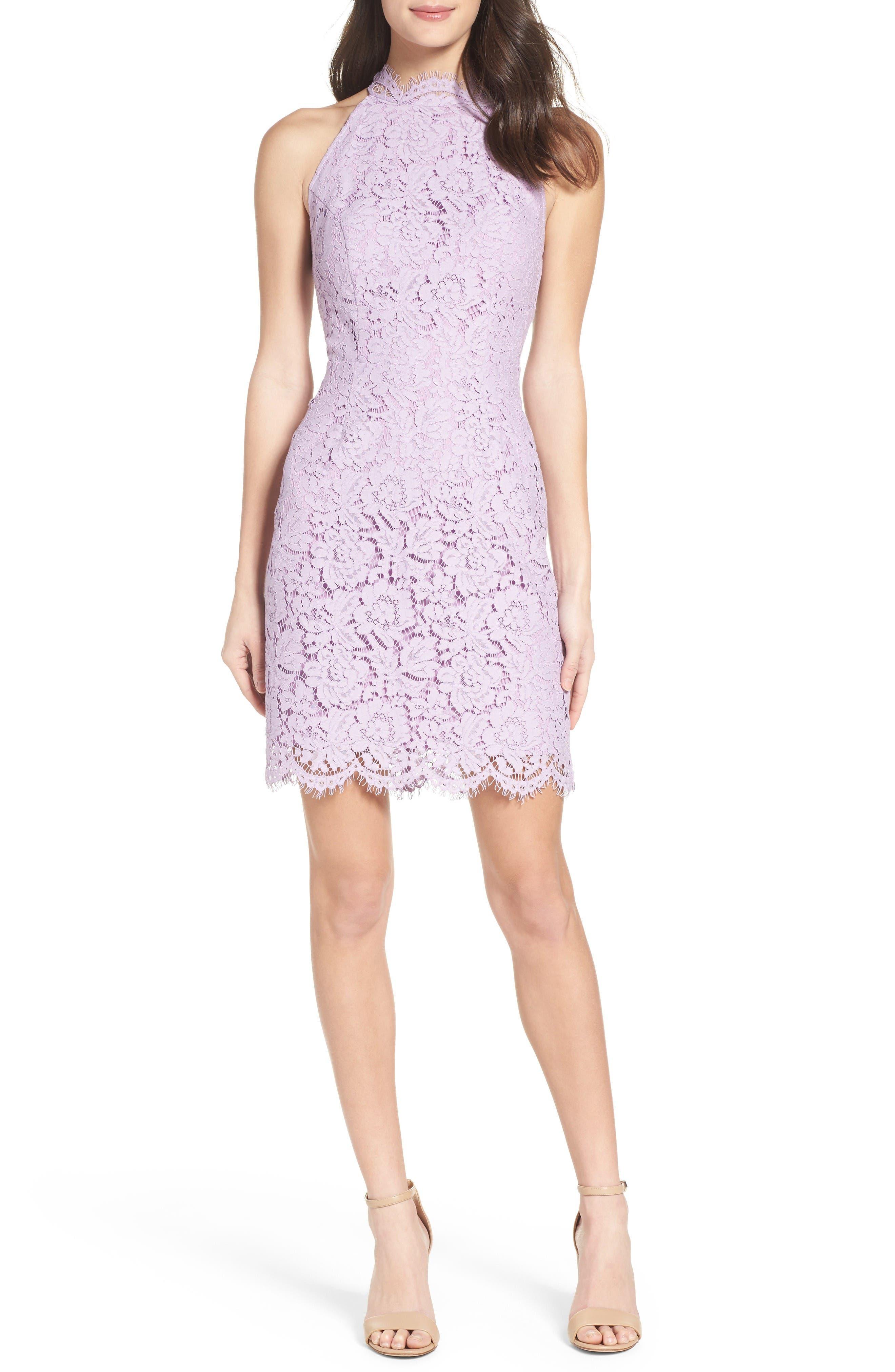 'Cara' High Neck Lace Dress,                             Main thumbnail 1, color,                             Lavender