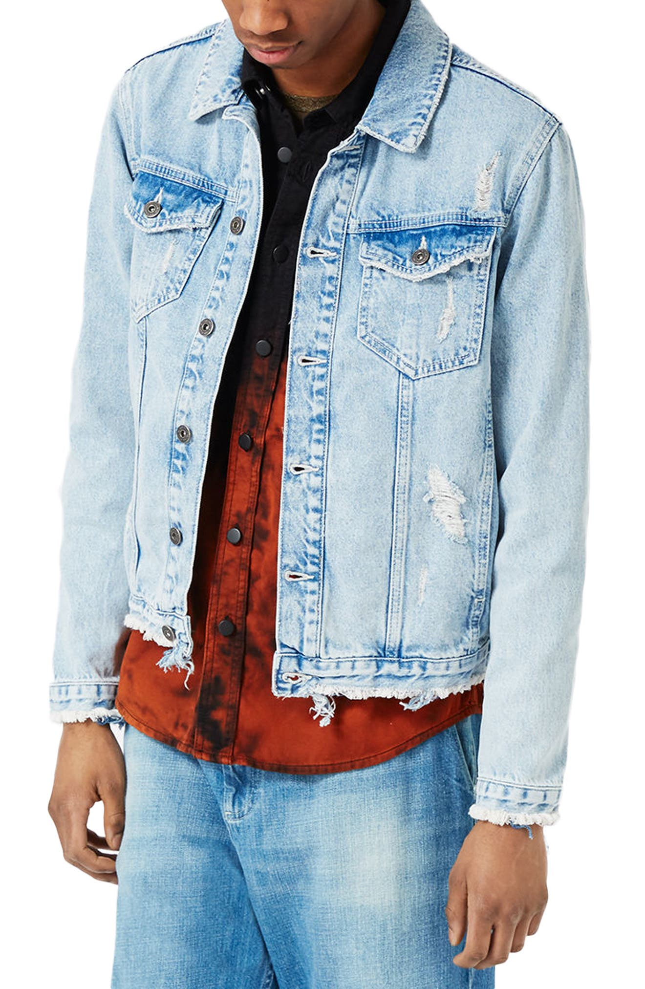 Distressed Denim Jacket,                         Main,                         color, Blue
