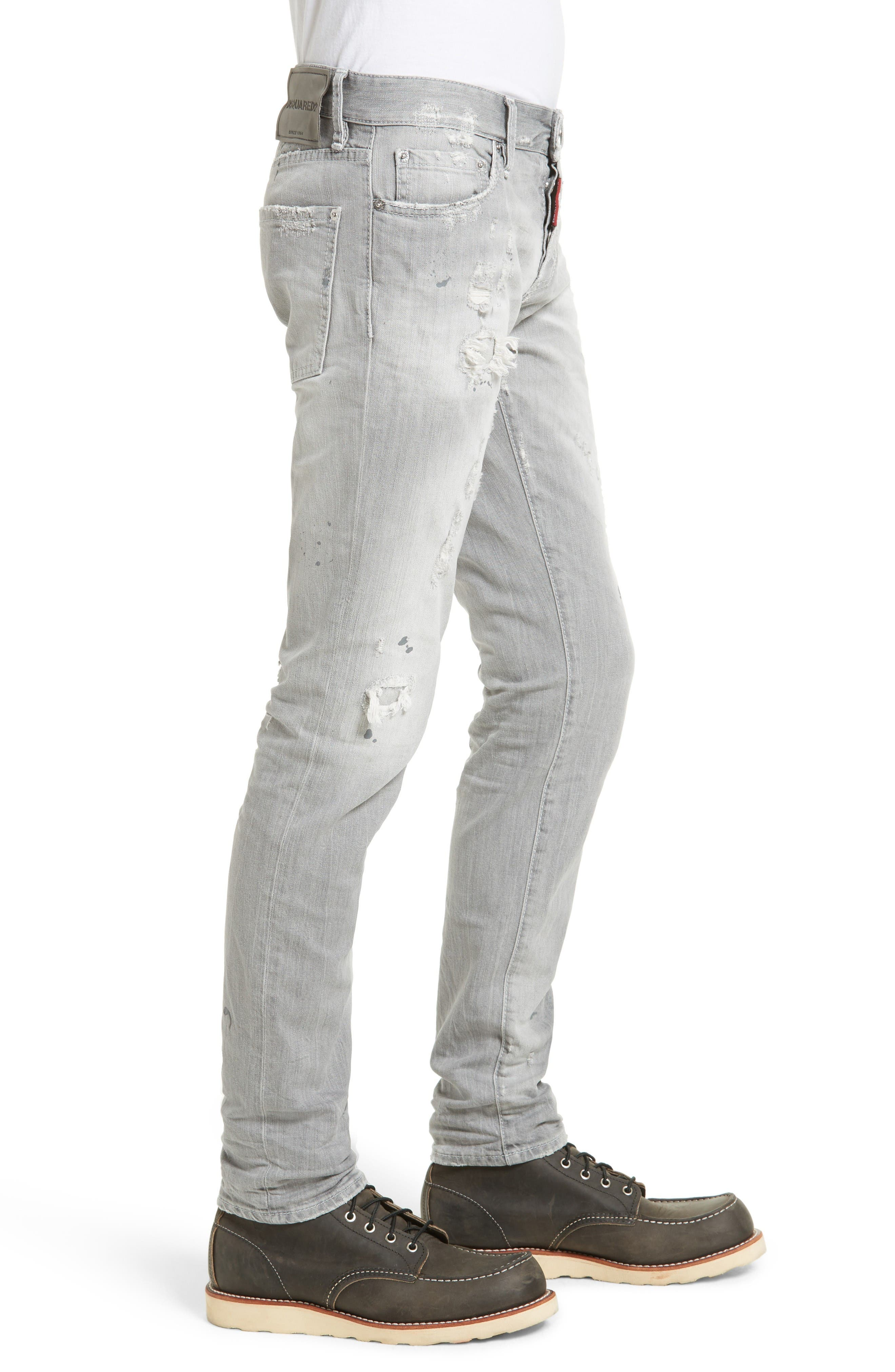 Grey Slim Fit Jeans,                             Alternate thumbnail 3, color,                             Grey
