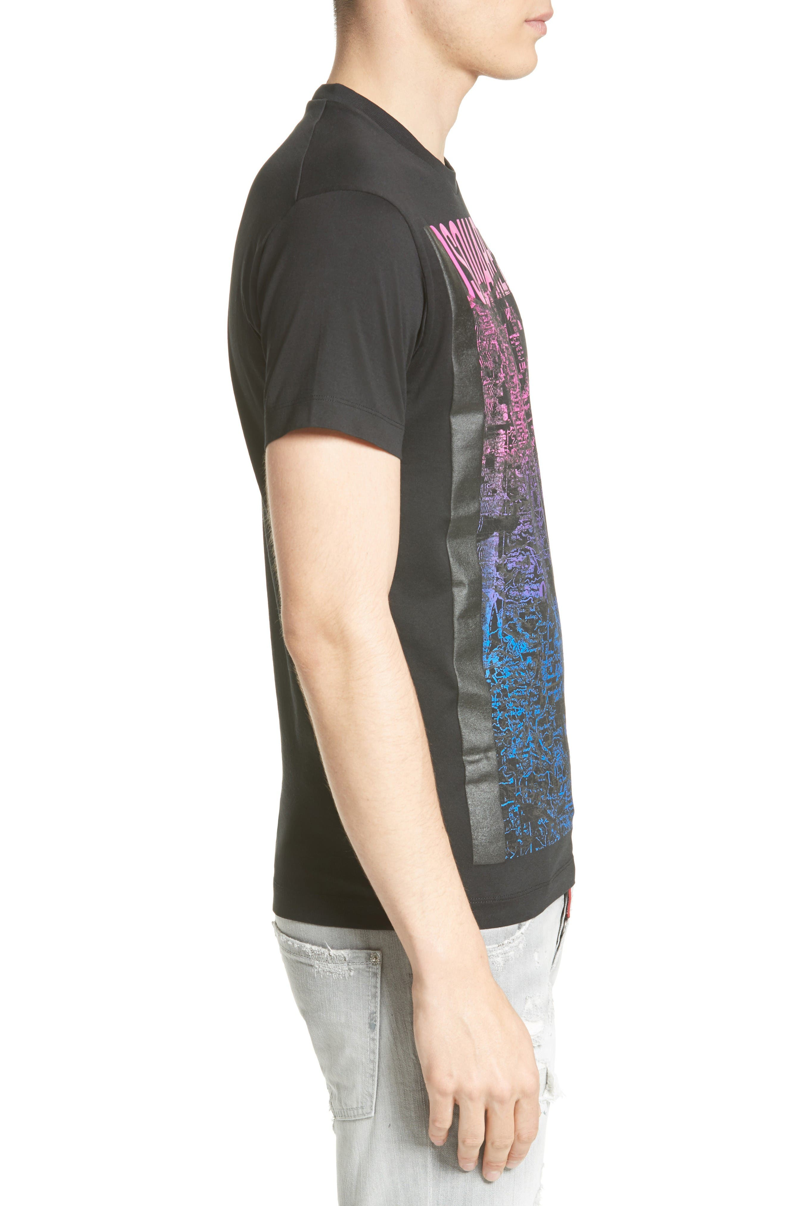 Topographic Graphic T-Shirt,                             Alternate thumbnail 3, color,                             Black