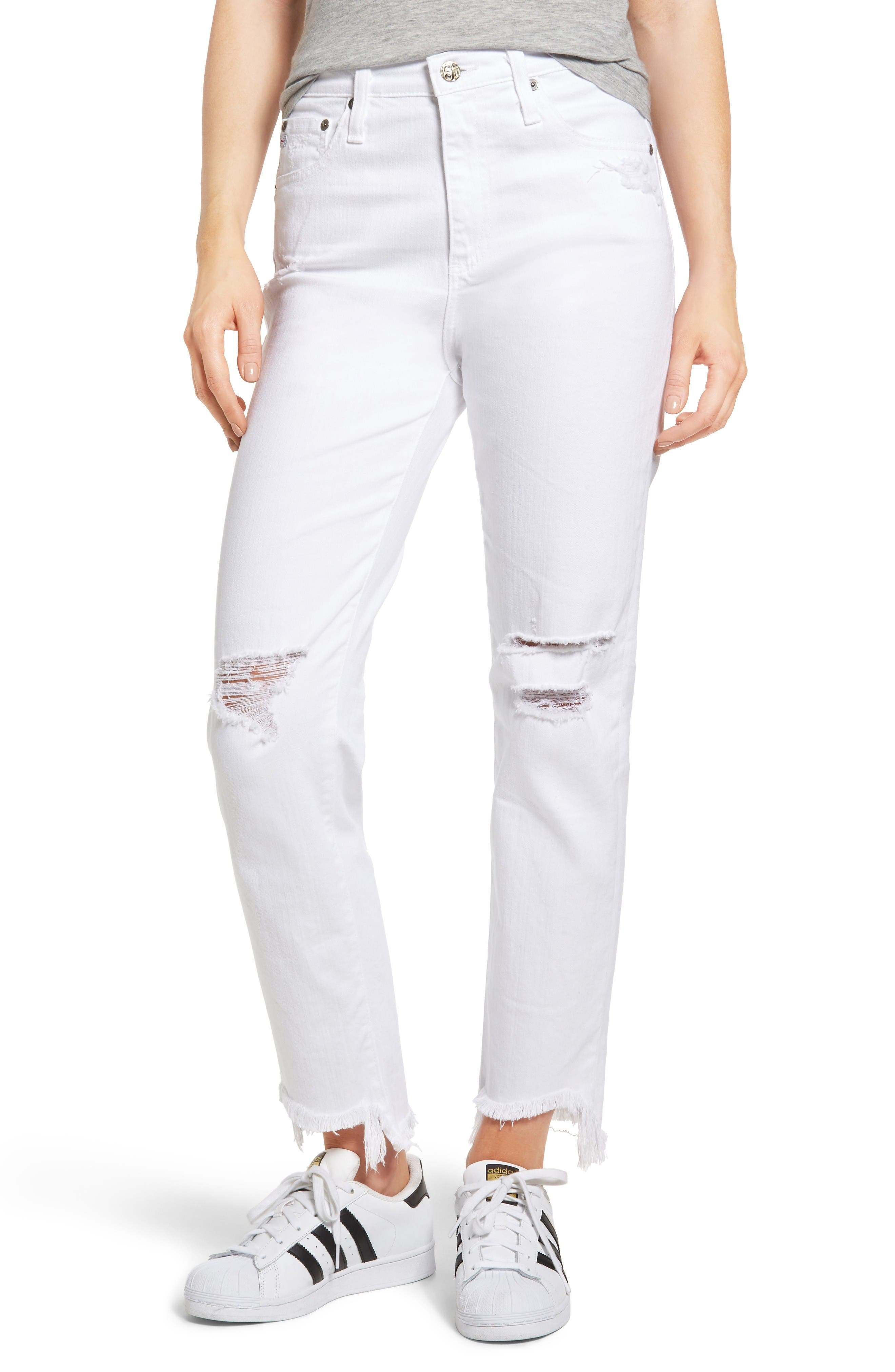 AG The Phoebe High Waist Ripped Straight Leg Jeans (5 Year White Frayed)