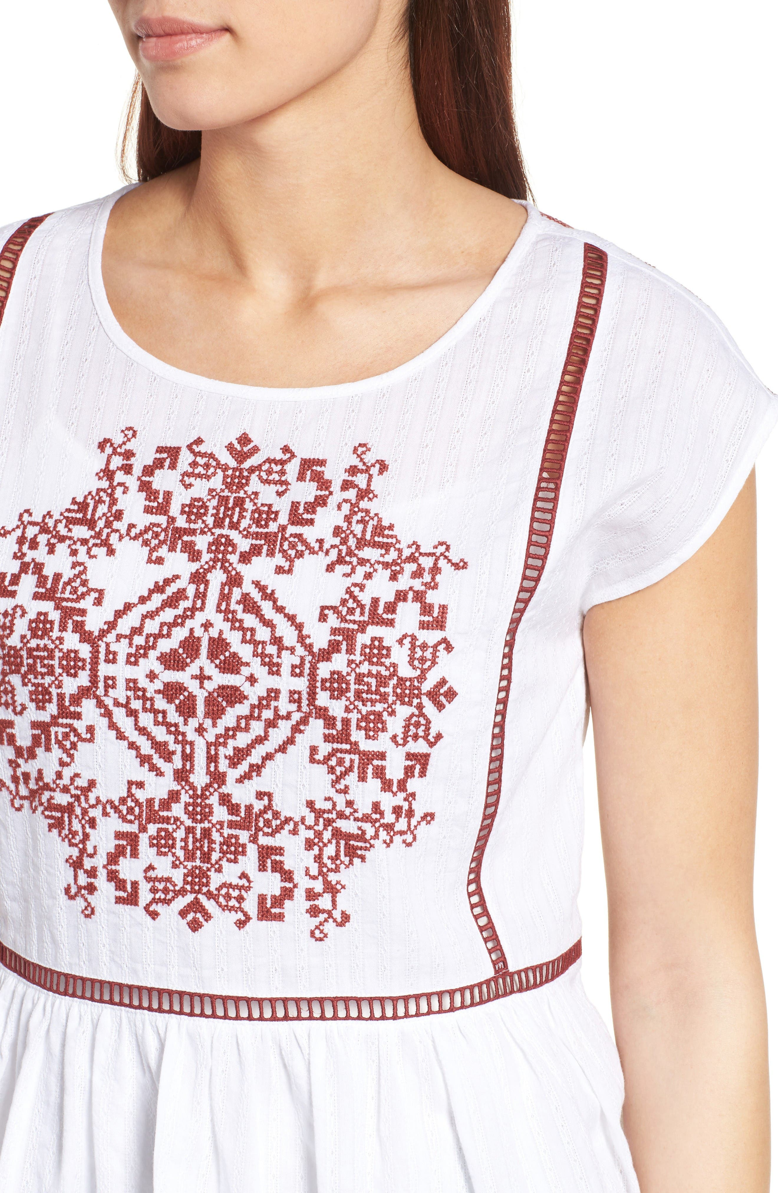 Alternate Image 5  - Caslon® Embroidered Cotton Top (Regular & Petite)