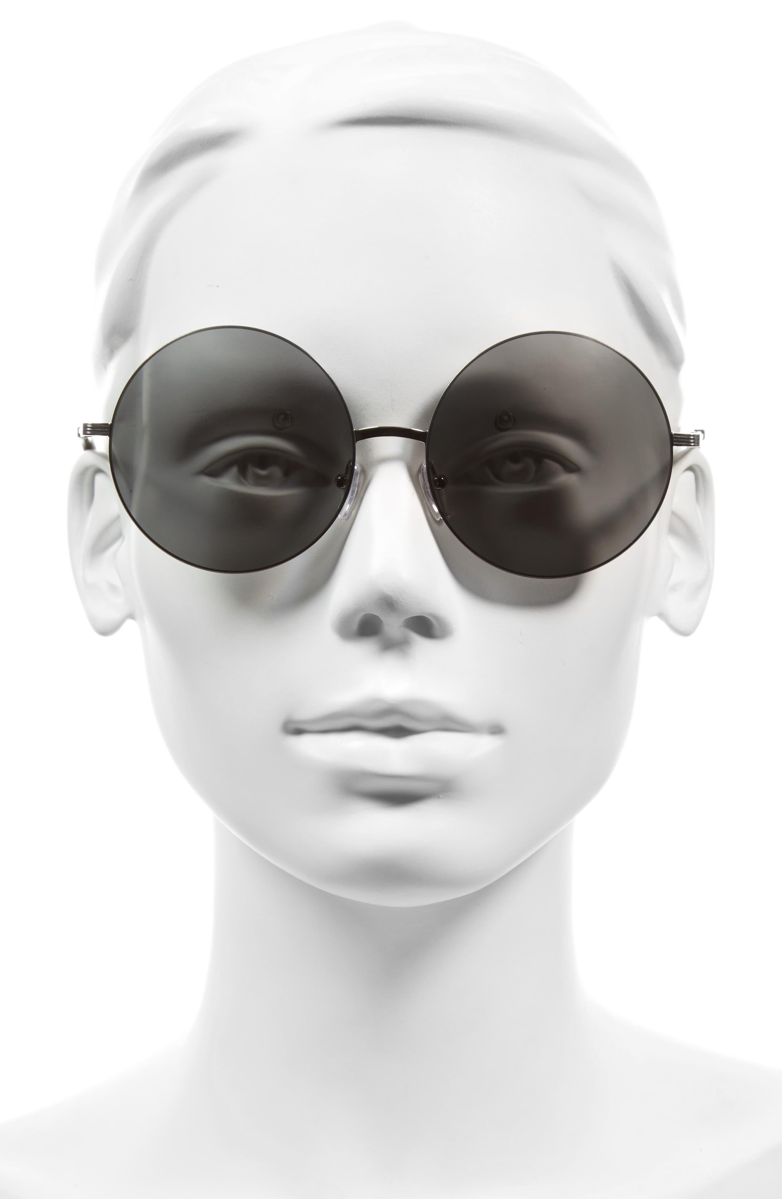 Feather 58mm Round Sunglasses,                             Alternate thumbnail 2, color,                             Platinum Mirror