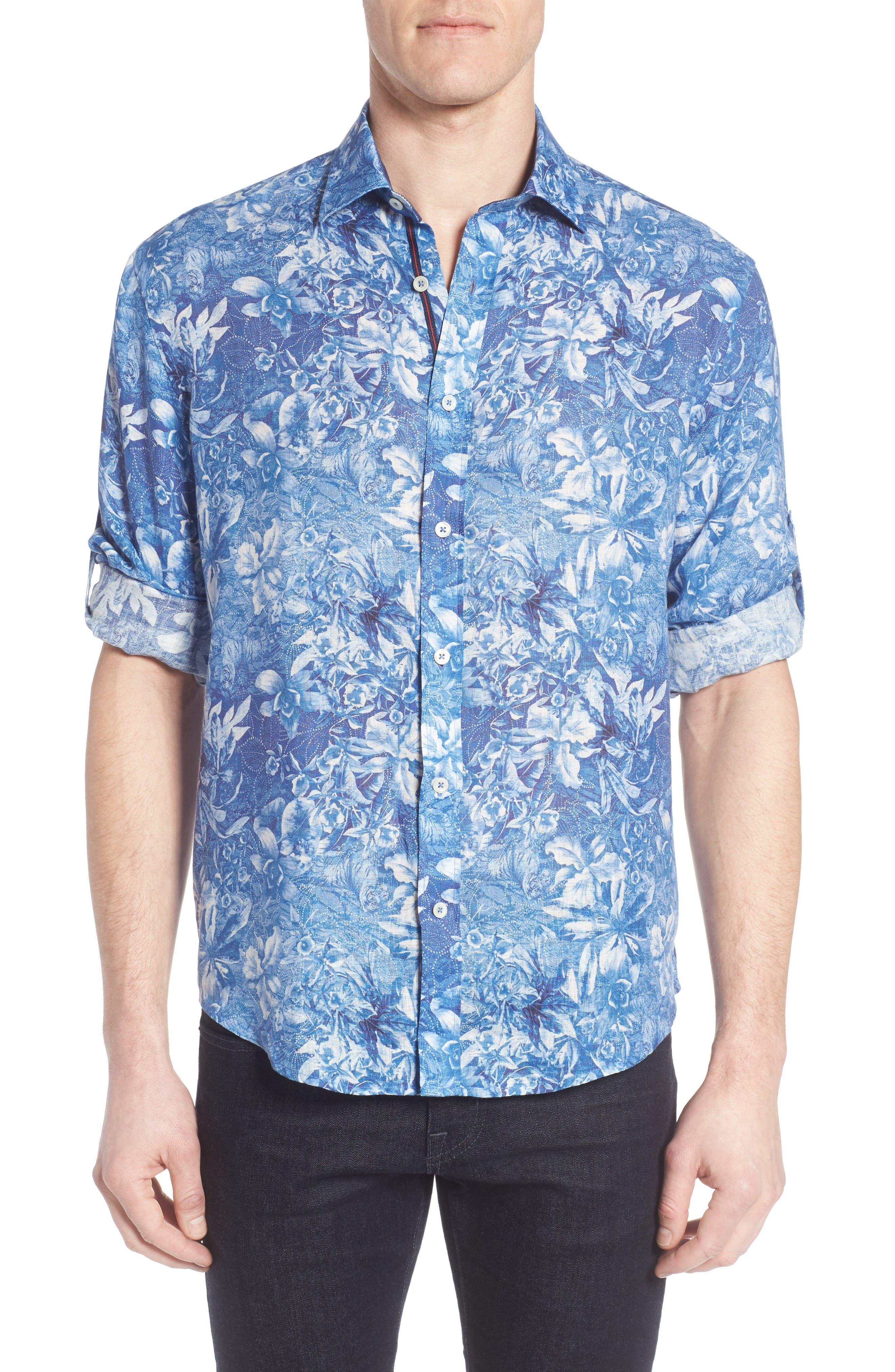 Shaped Fit Floral Linen Sport Shirt,                         Main,                         color, Air Blue