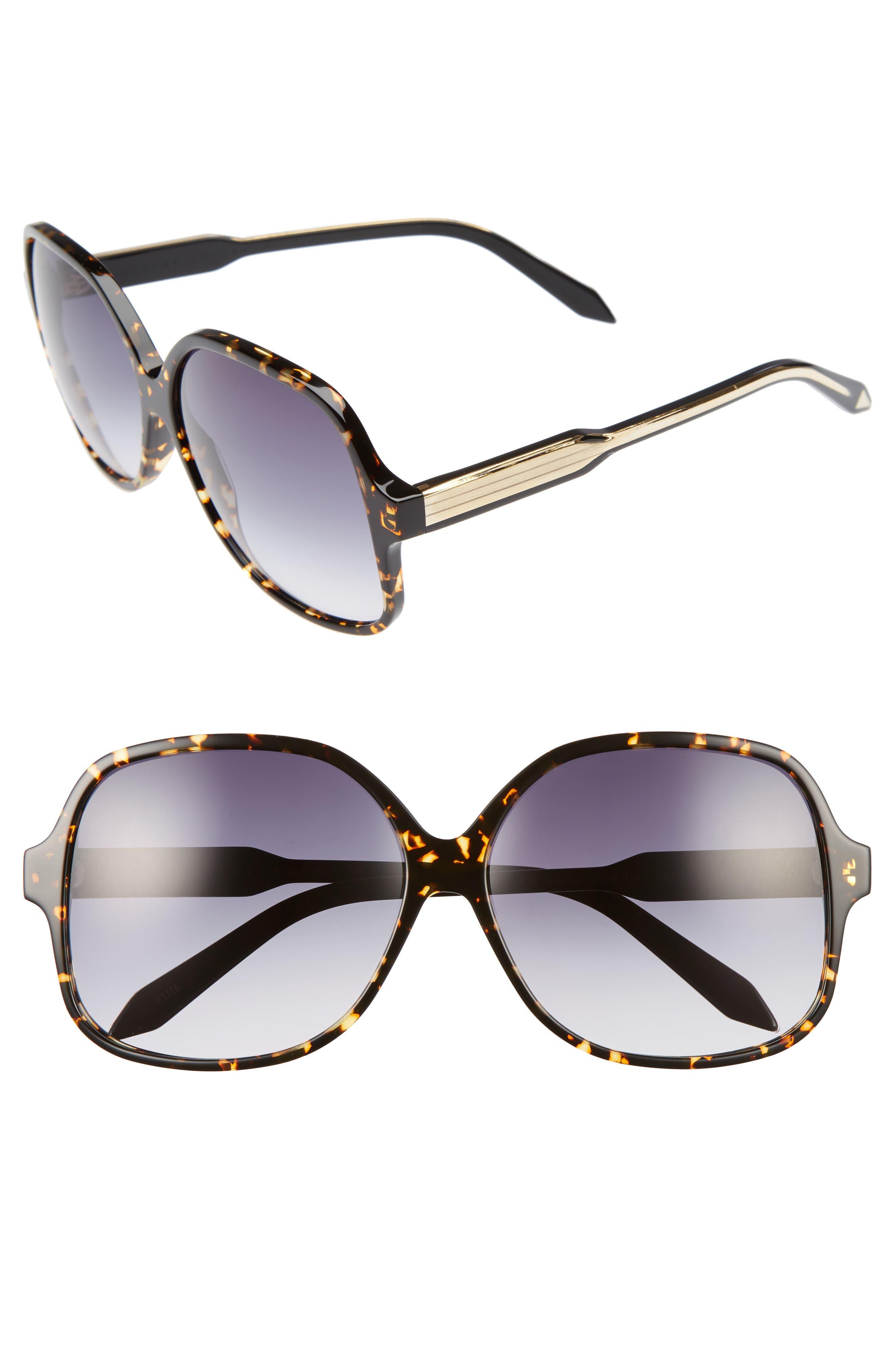 Classic 61mm Gradient Lens Square Sunglasses,                         Main,                         color, Amber Tortoise