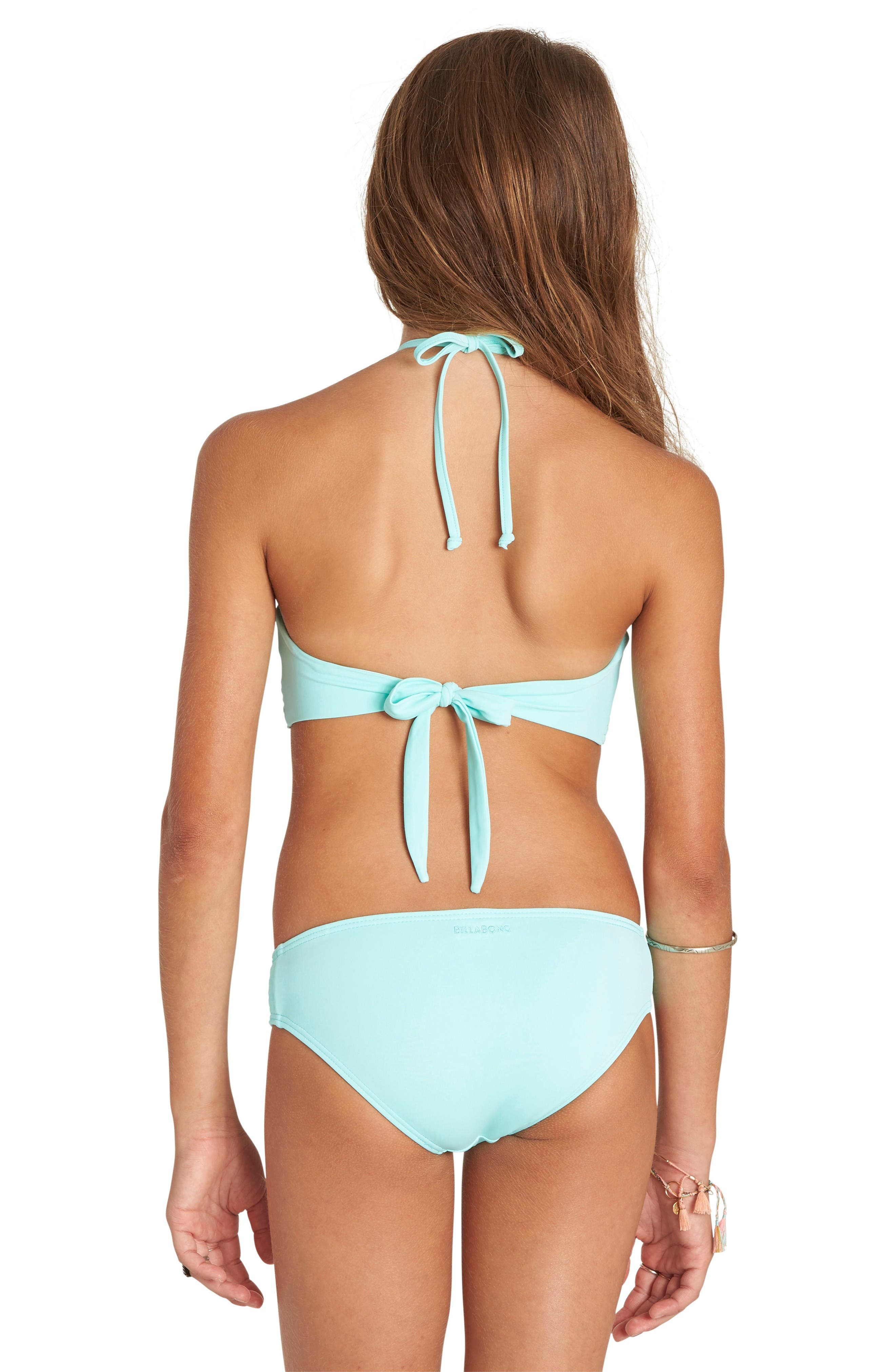 Smocked Two-Piece Swimsuit,                             Alternate thumbnail 2, color,                             Beach Glass