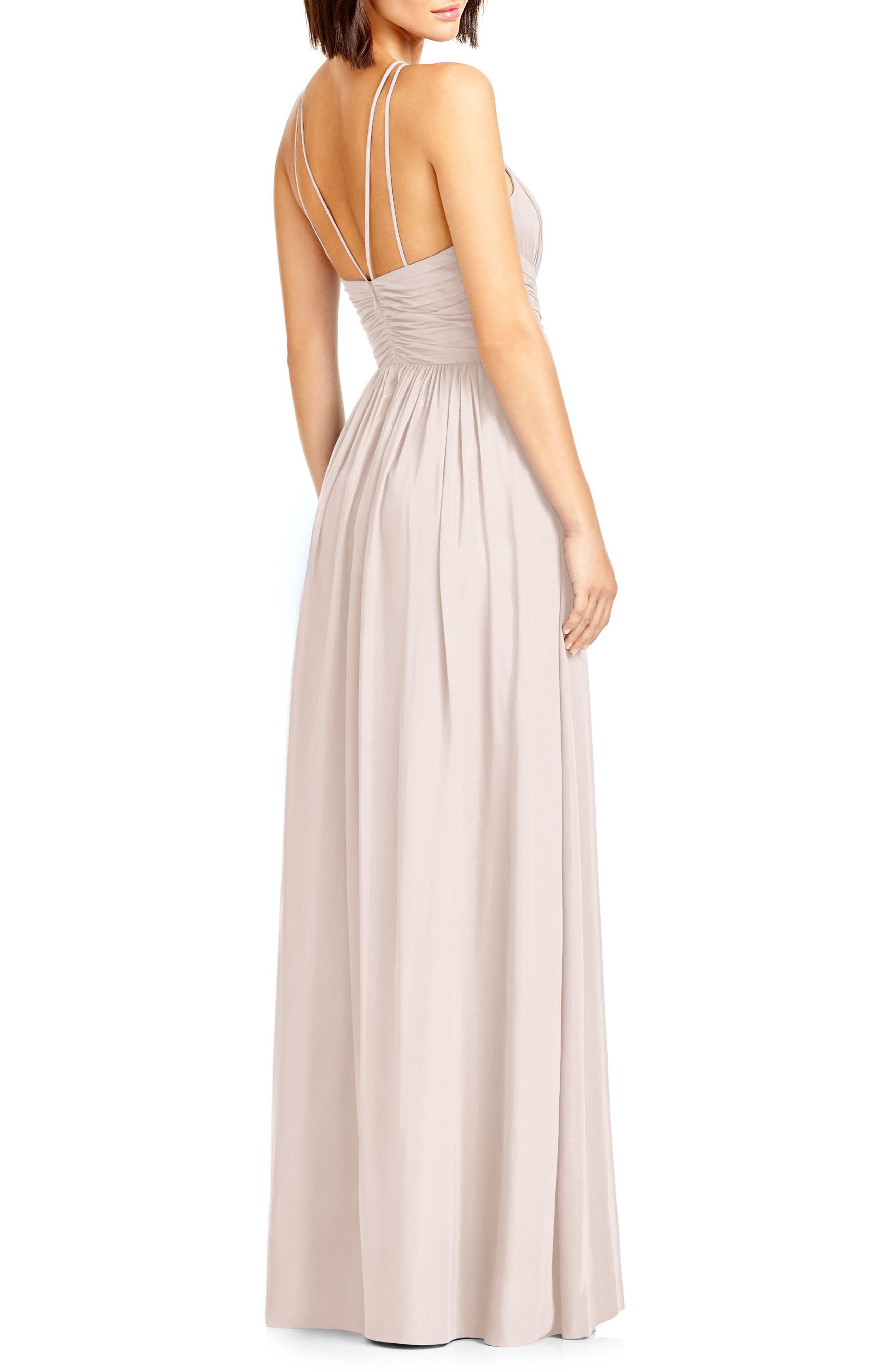 Alternate Image 2  - Dessy Collection Lux Chiffon Halter Gown