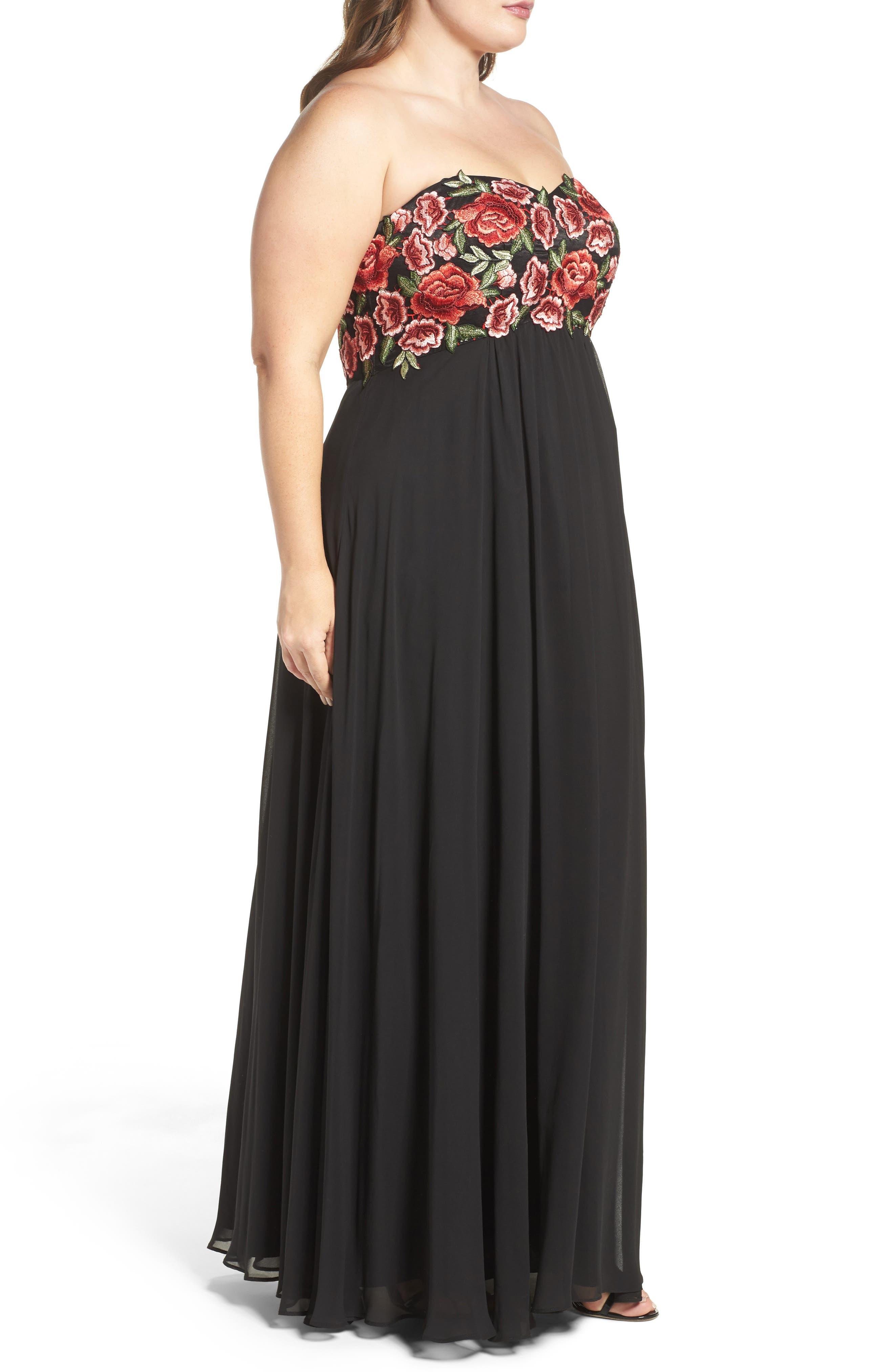 Floral Appliqué Strapless Gown,                             Alternate thumbnail 3, color,                             Black/ Red