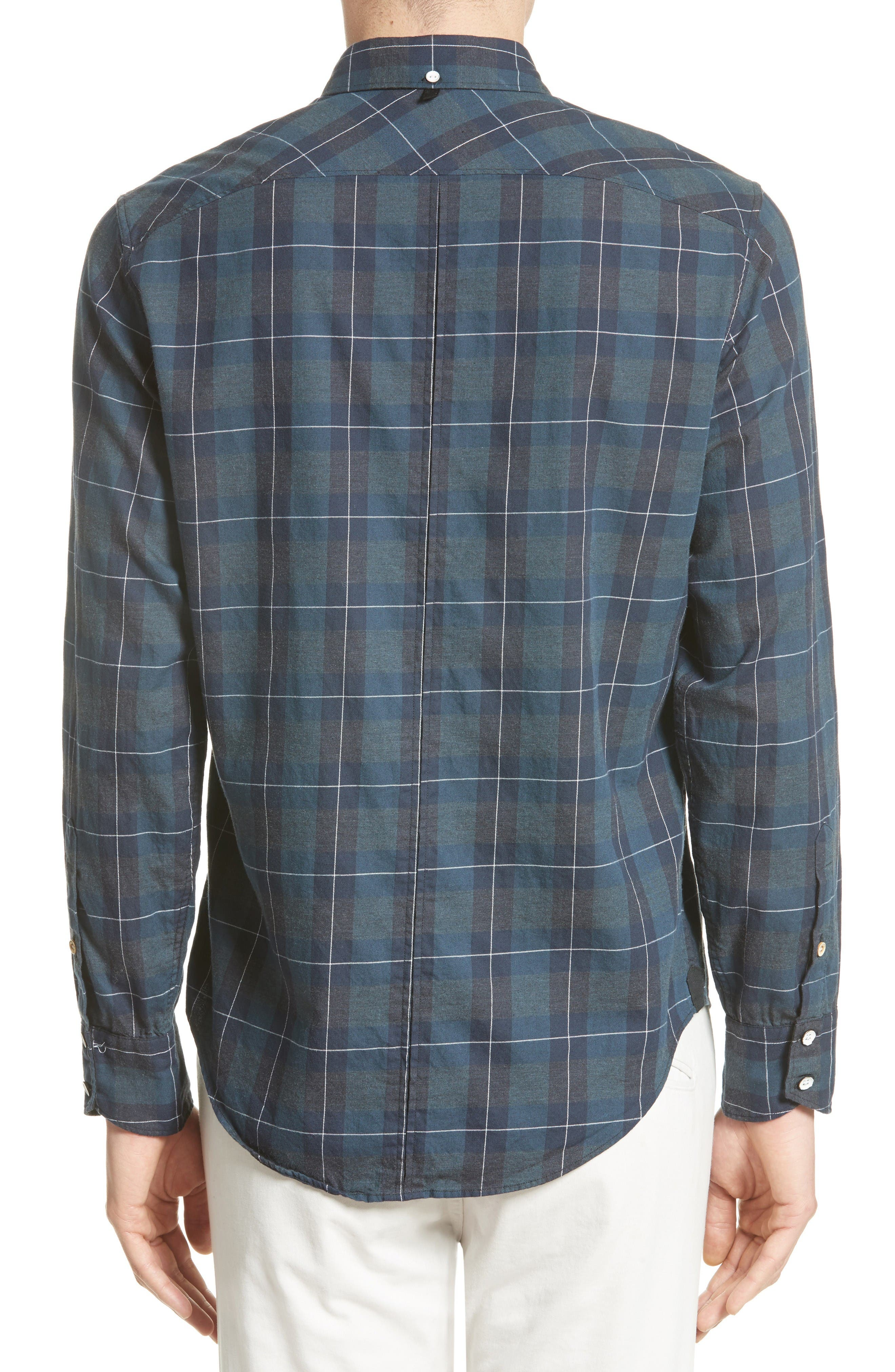 Tomlin Plaid Sport Shirt,                             Alternate thumbnail 2, color,                             Navy Multi