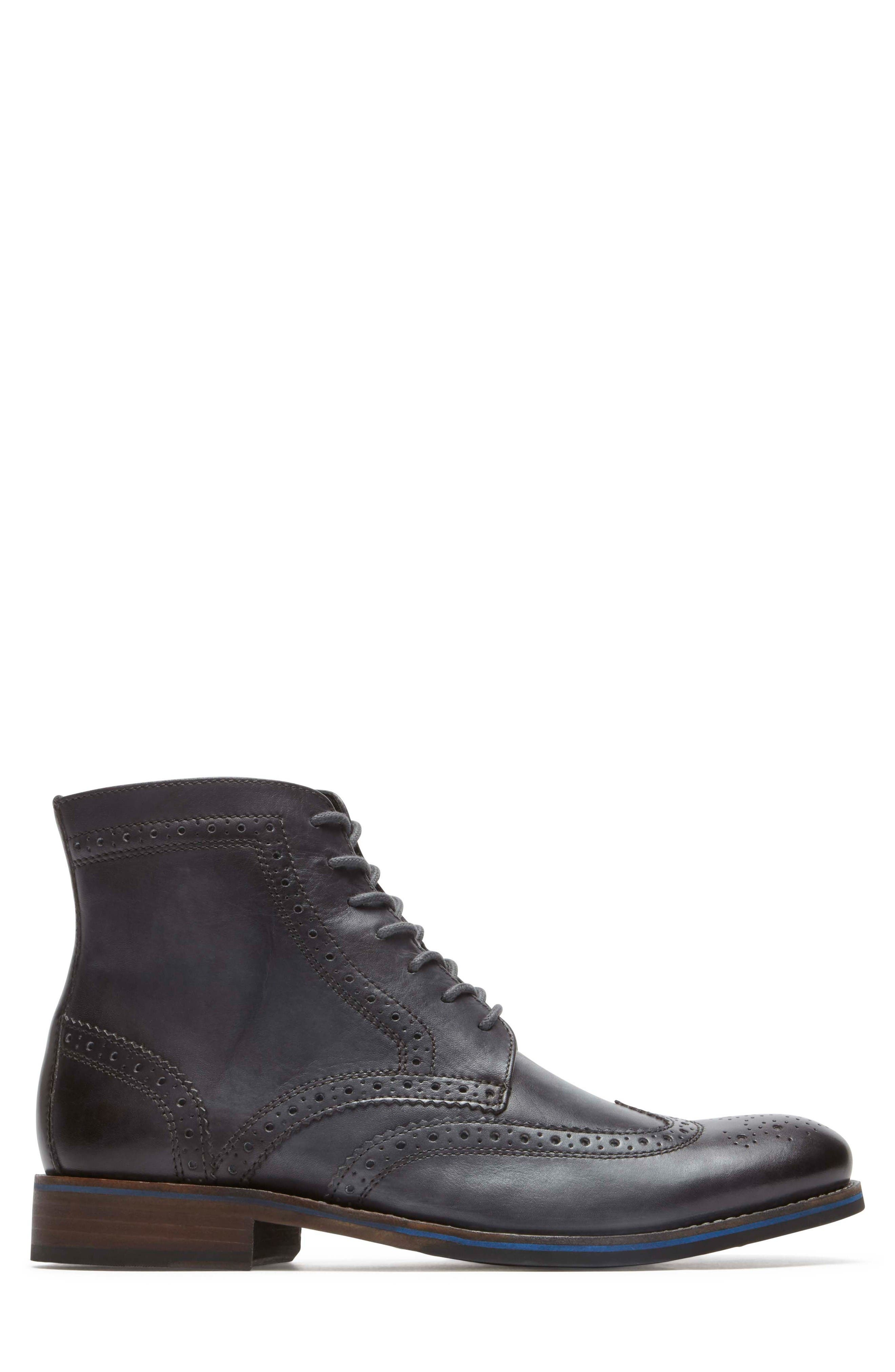 Wyat Wingtip Boot,                             Alternate thumbnail 3, color,                             Dark Shadow Leather